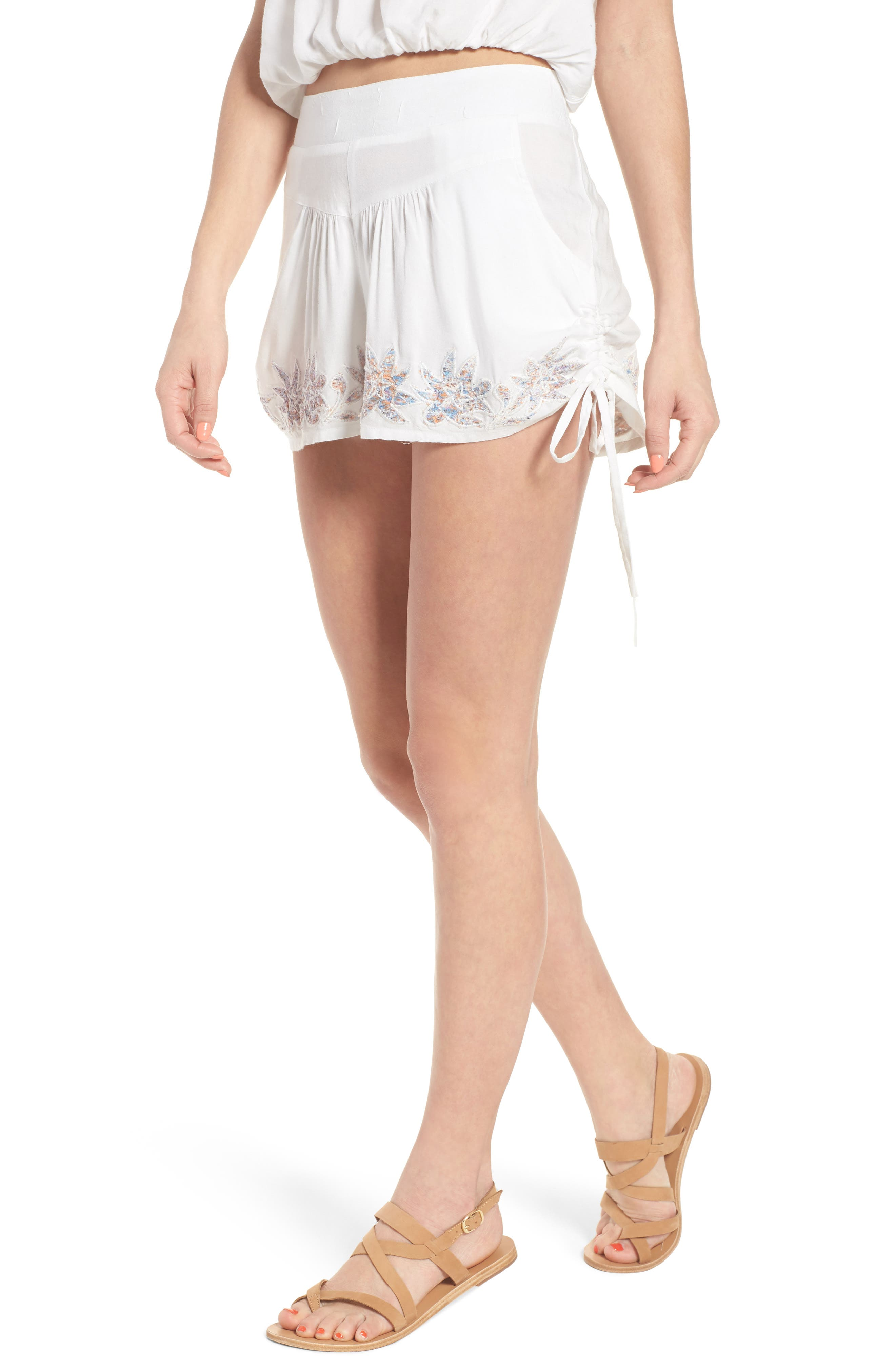Lotus Love Side Tie Shorts,                         Main,                         color, Eggshell