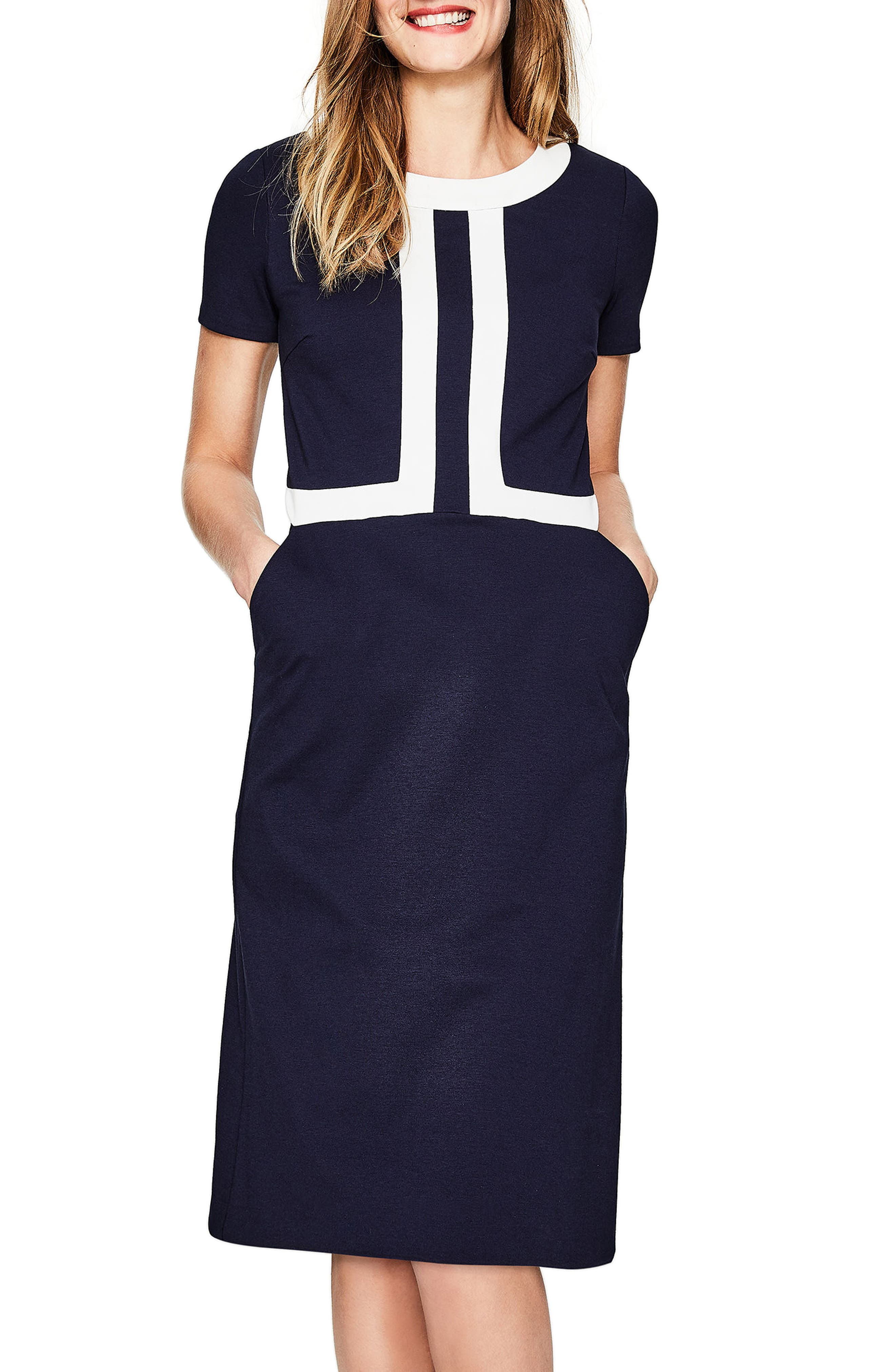 Colorblock A-Line Dress,                             Main thumbnail 1, color,                             Navy/ Ivory