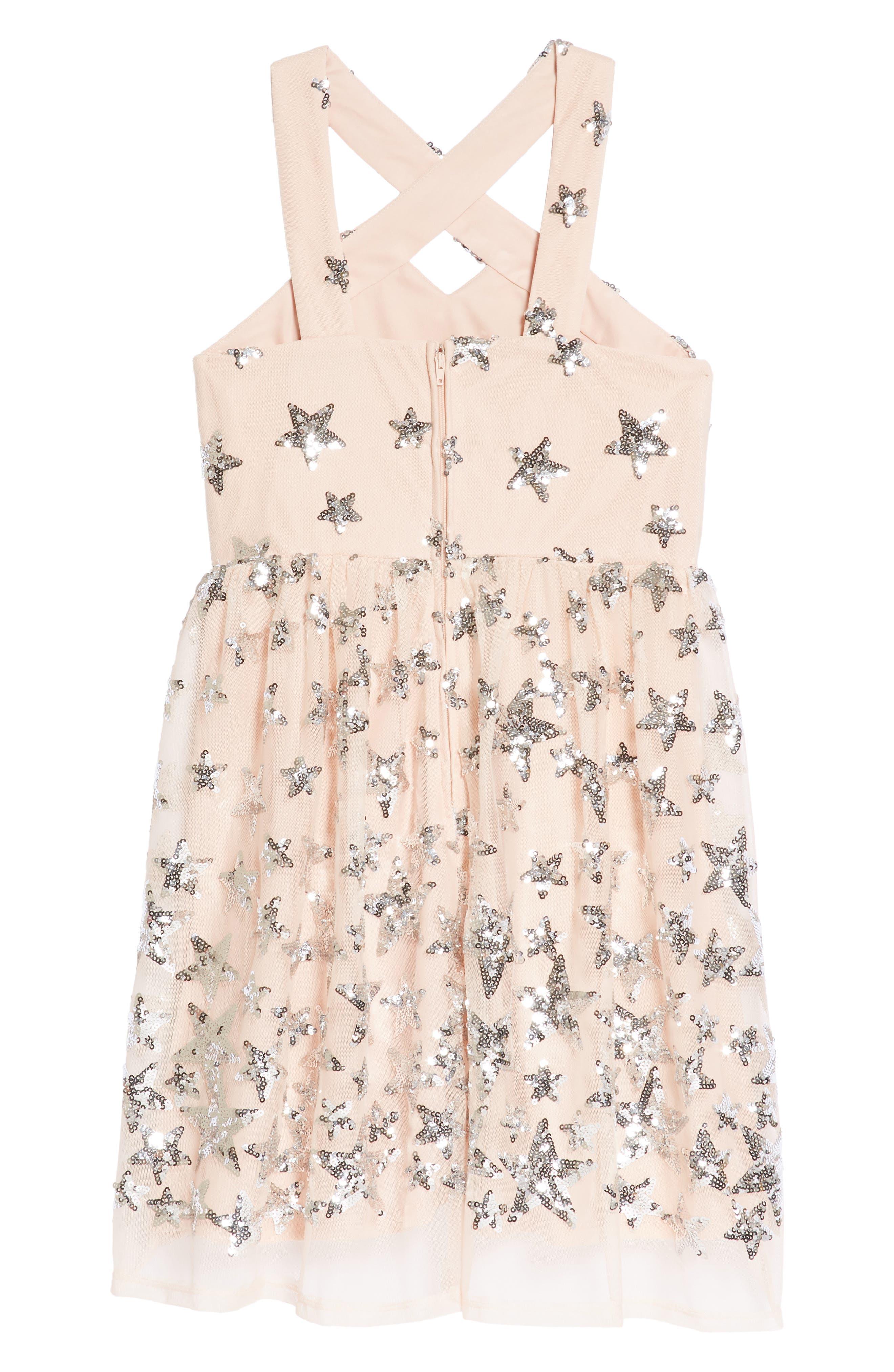 Sequin Embellished Star Party Dress,                             Alternate thumbnail 2, color,                             Blush