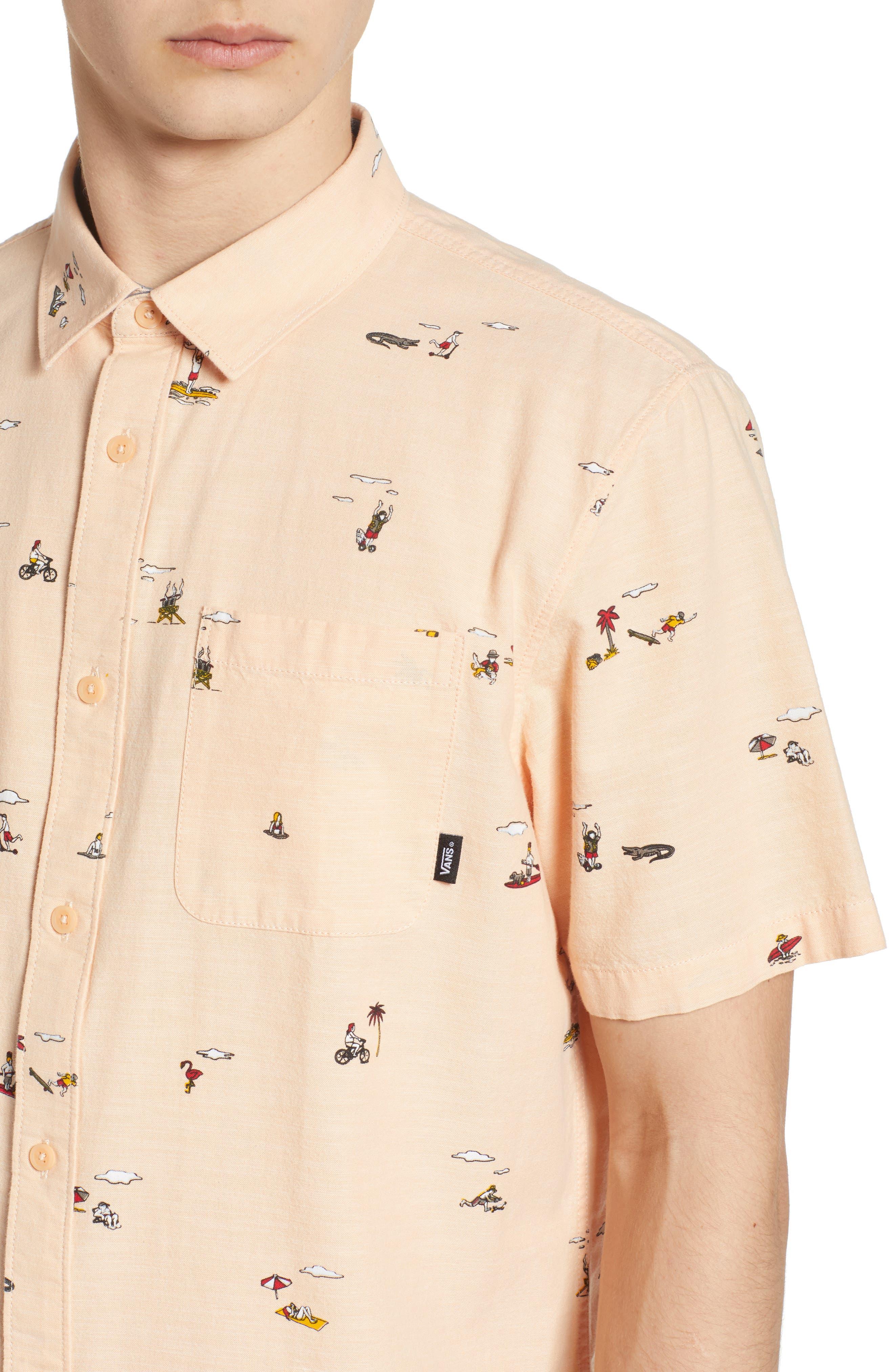 Tres Palmas Short Sleeve Shirt,                             Alternate thumbnail 4, color,                             Apricot Ice