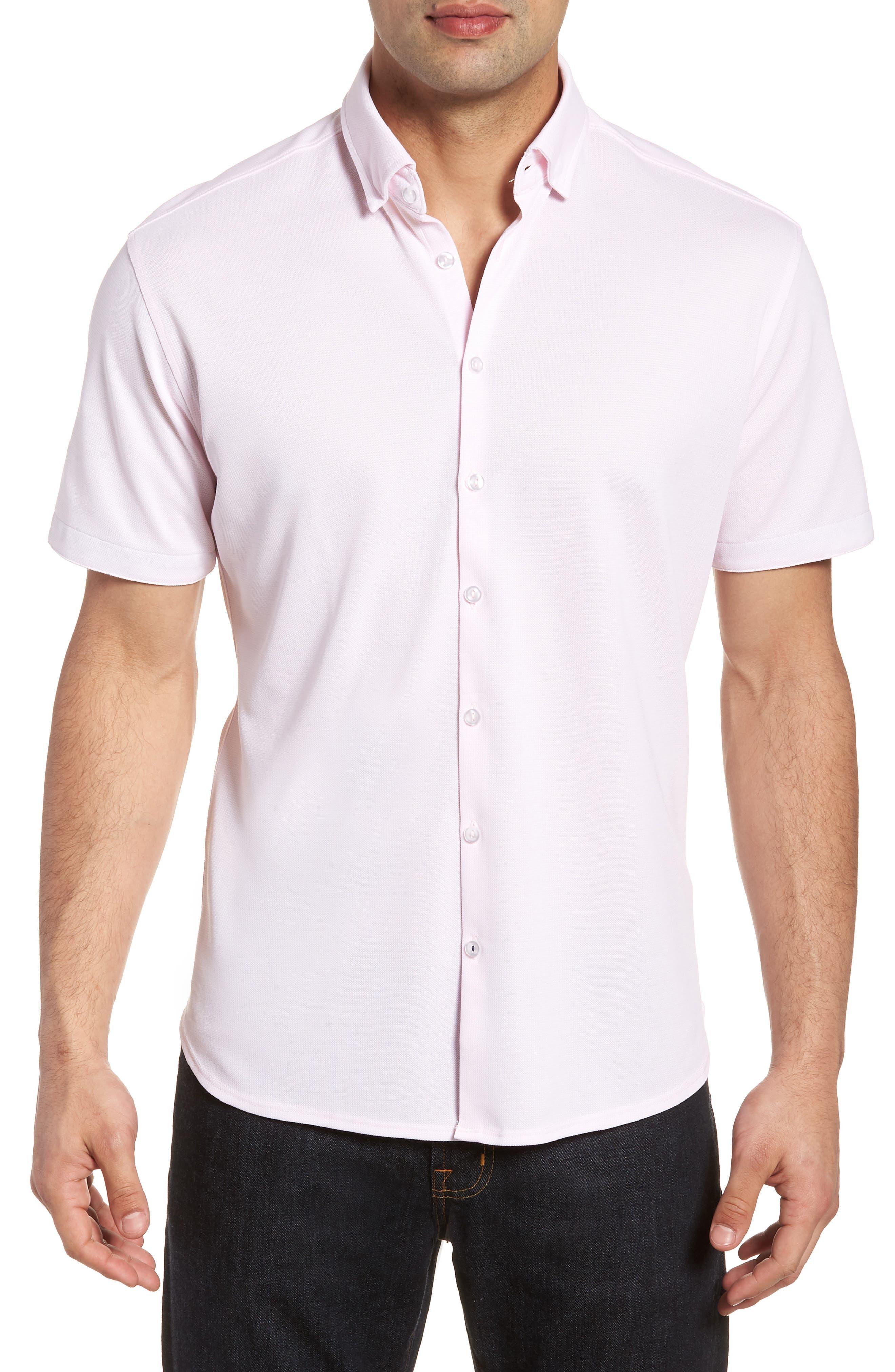 Knit Sport Shirt,                         Main,                         color, Pink