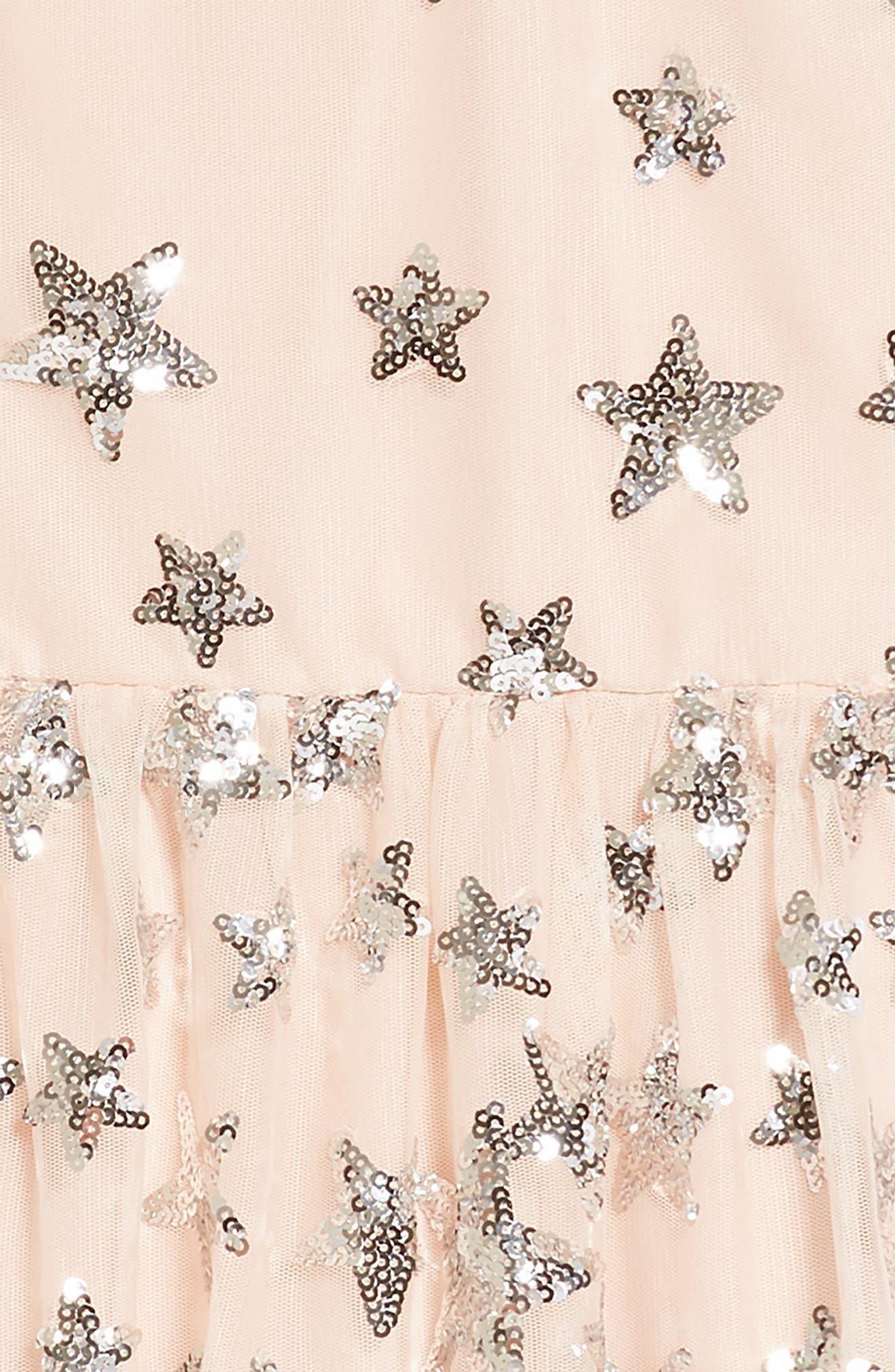 Sequin Embellished Star Party Dress,                             Alternate thumbnail 3, color,                             Blush