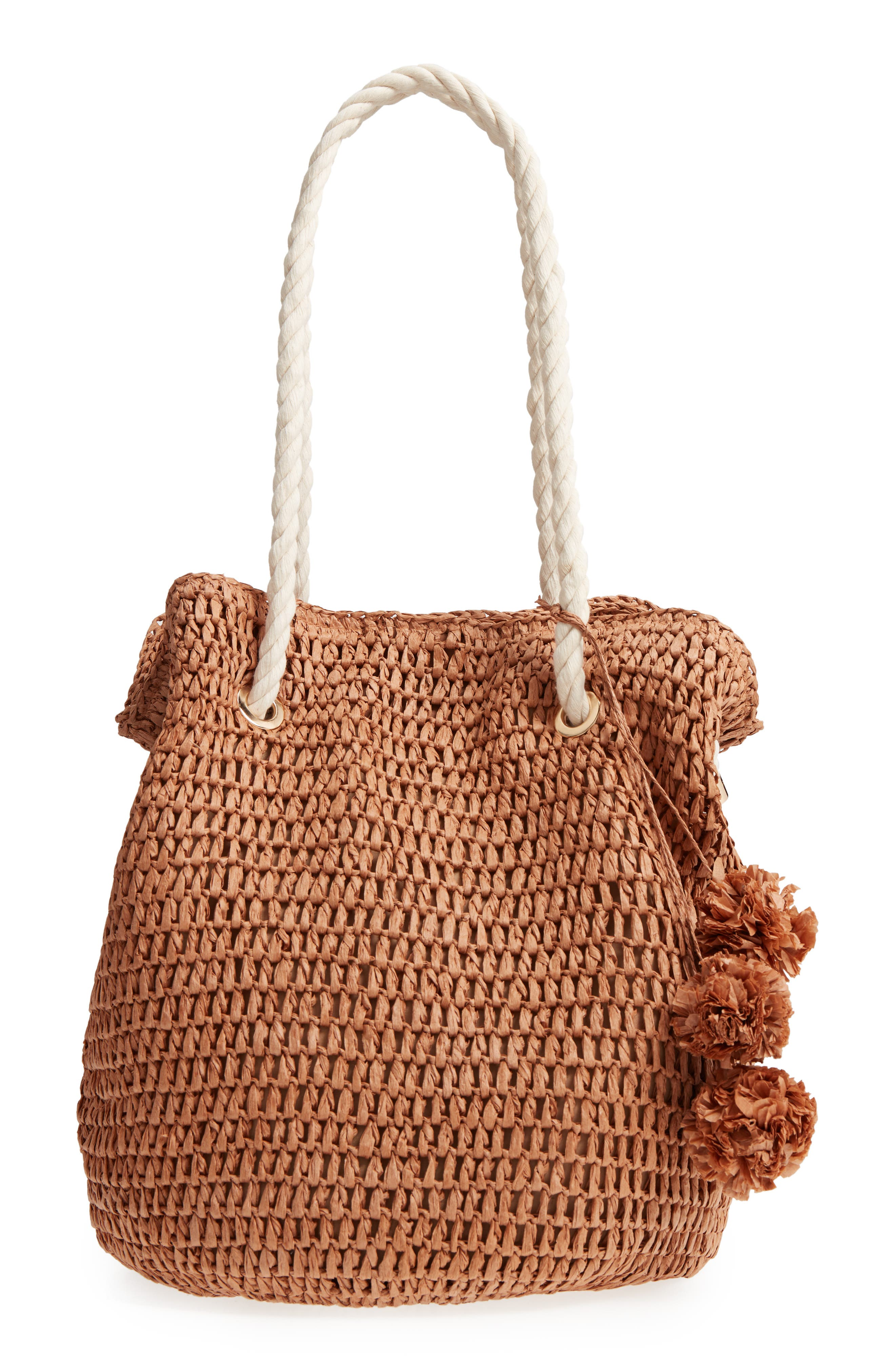 Mama Straw Bucket Bag,                         Main,                         color, Toffee