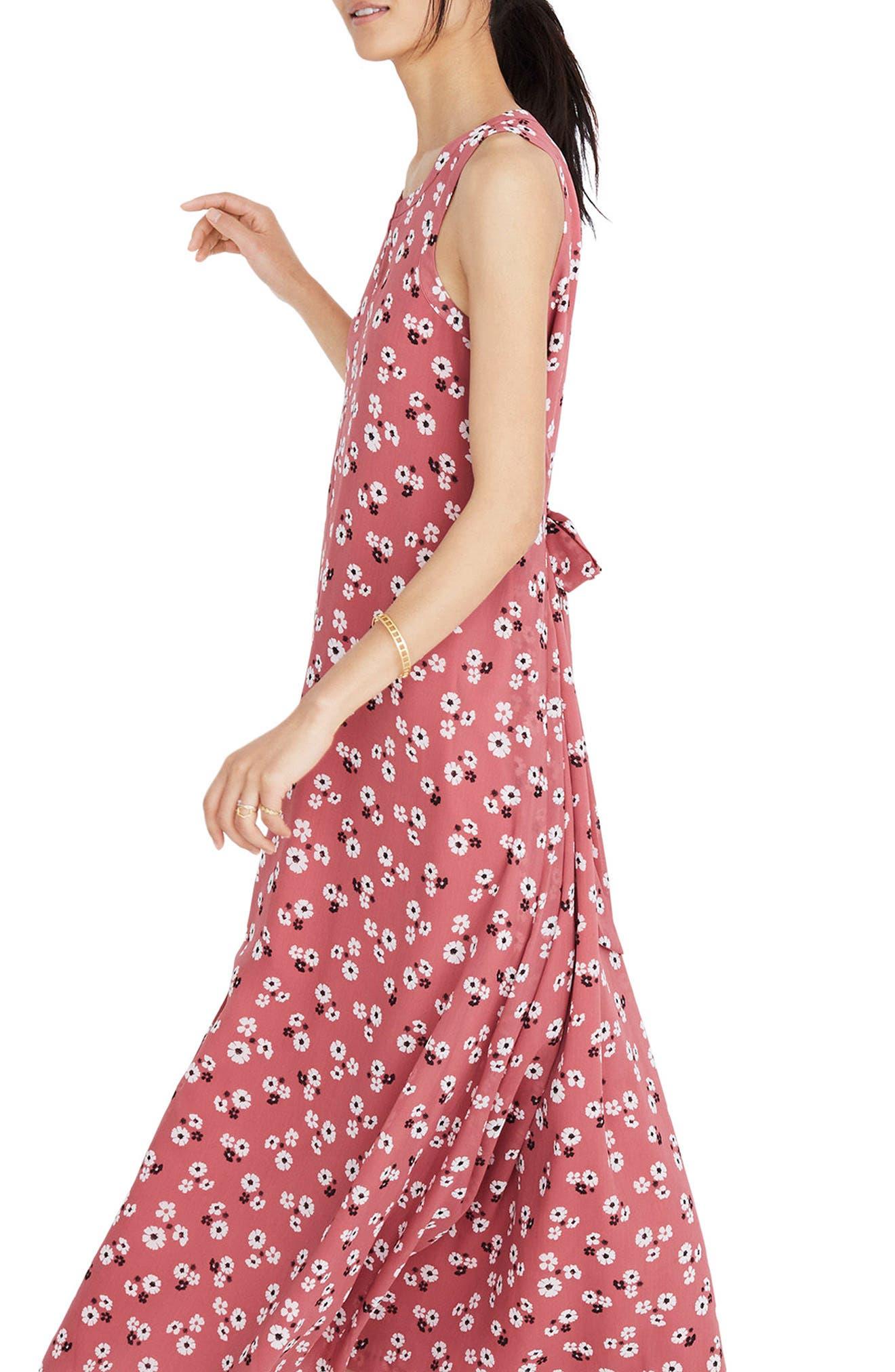 Daisy Tie Waist Maxi Dress,                             Alternate thumbnail 3, color,                             Autumn Berry