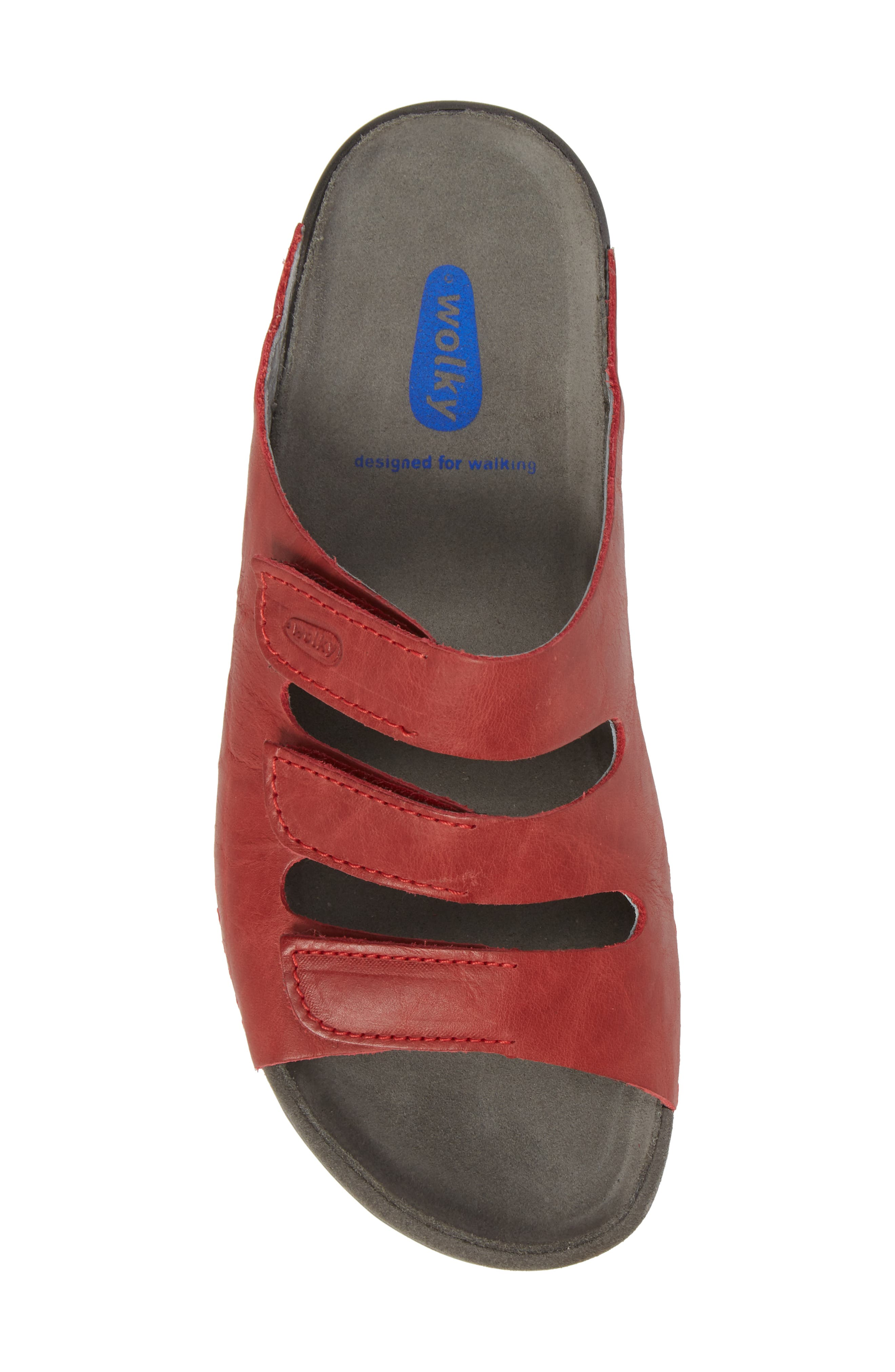 Nomad Slide Sandal,                             Alternate thumbnail 5, color,                             Red Leather