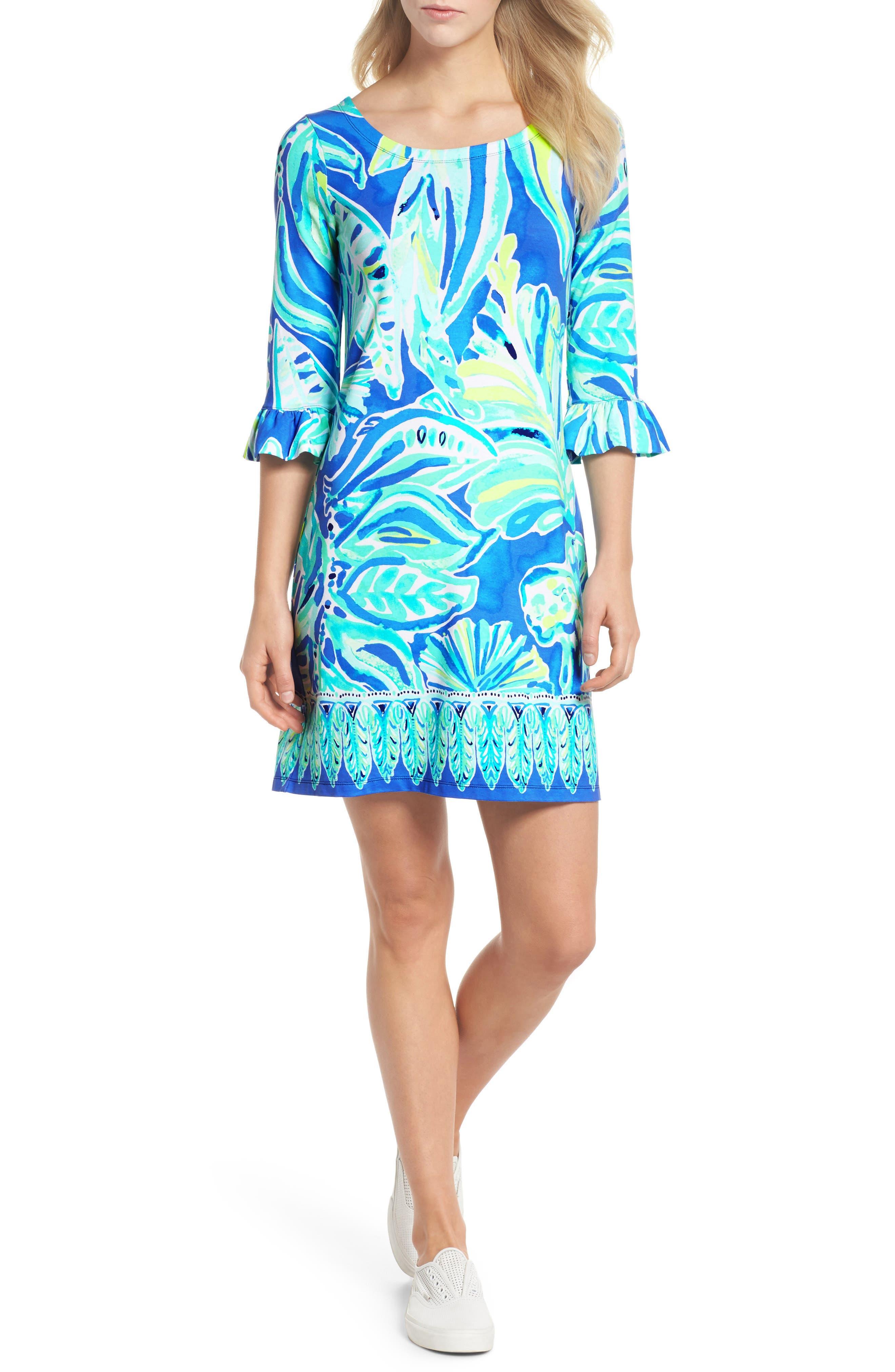 Sophie UPF 50+ Shift Dress,                             Main thumbnail 1, color,                             Beckon Blue Palm Passage