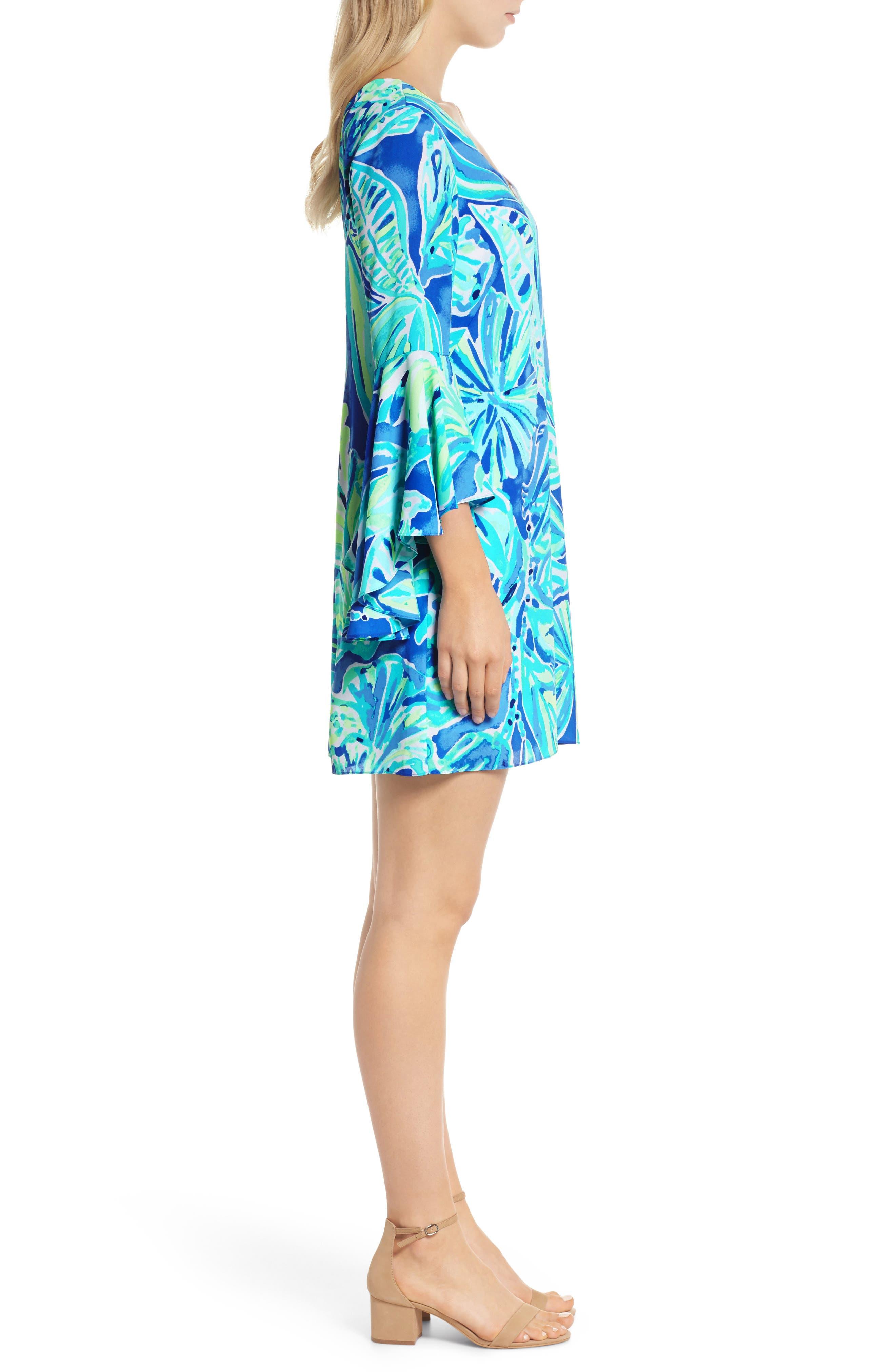 Rosalia Bell Sleeve Shift Dress,                             Alternate thumbnail 3, color,                             Beckon Blue Palm Passage