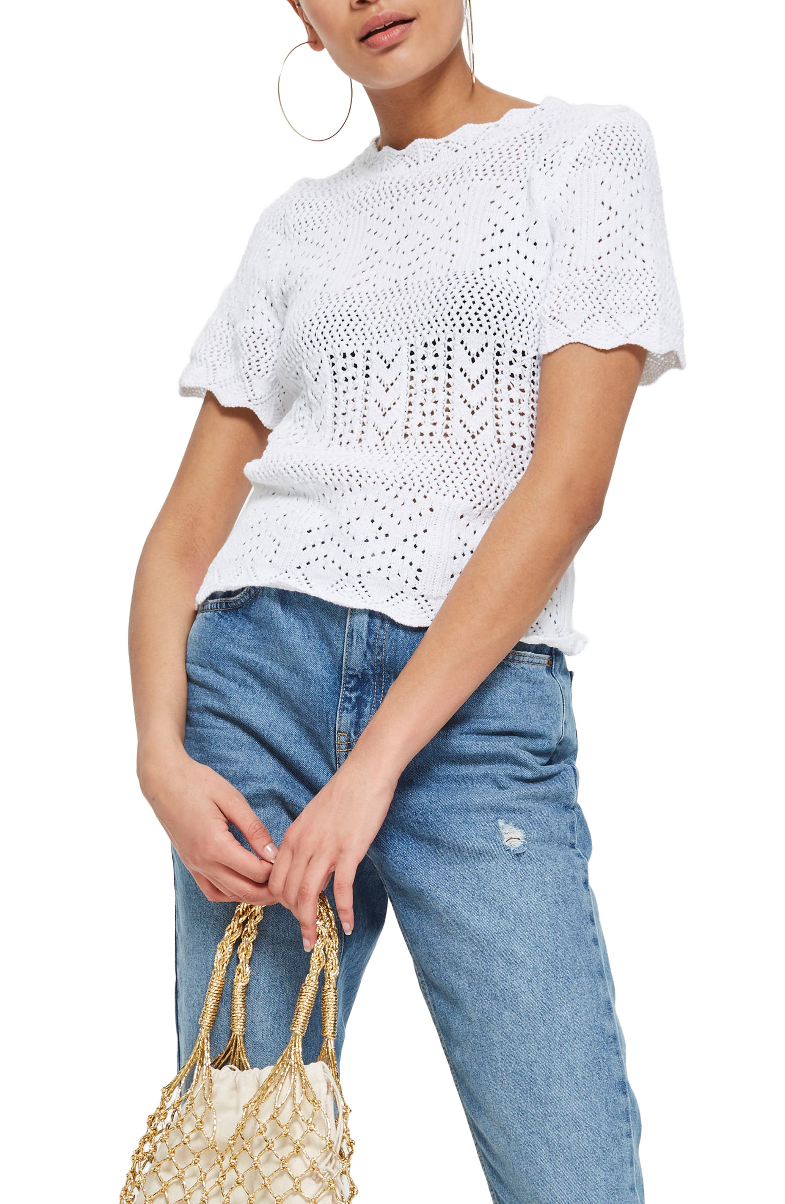 Main Image - Topshop Stitchy Scallop Hem Knit Top