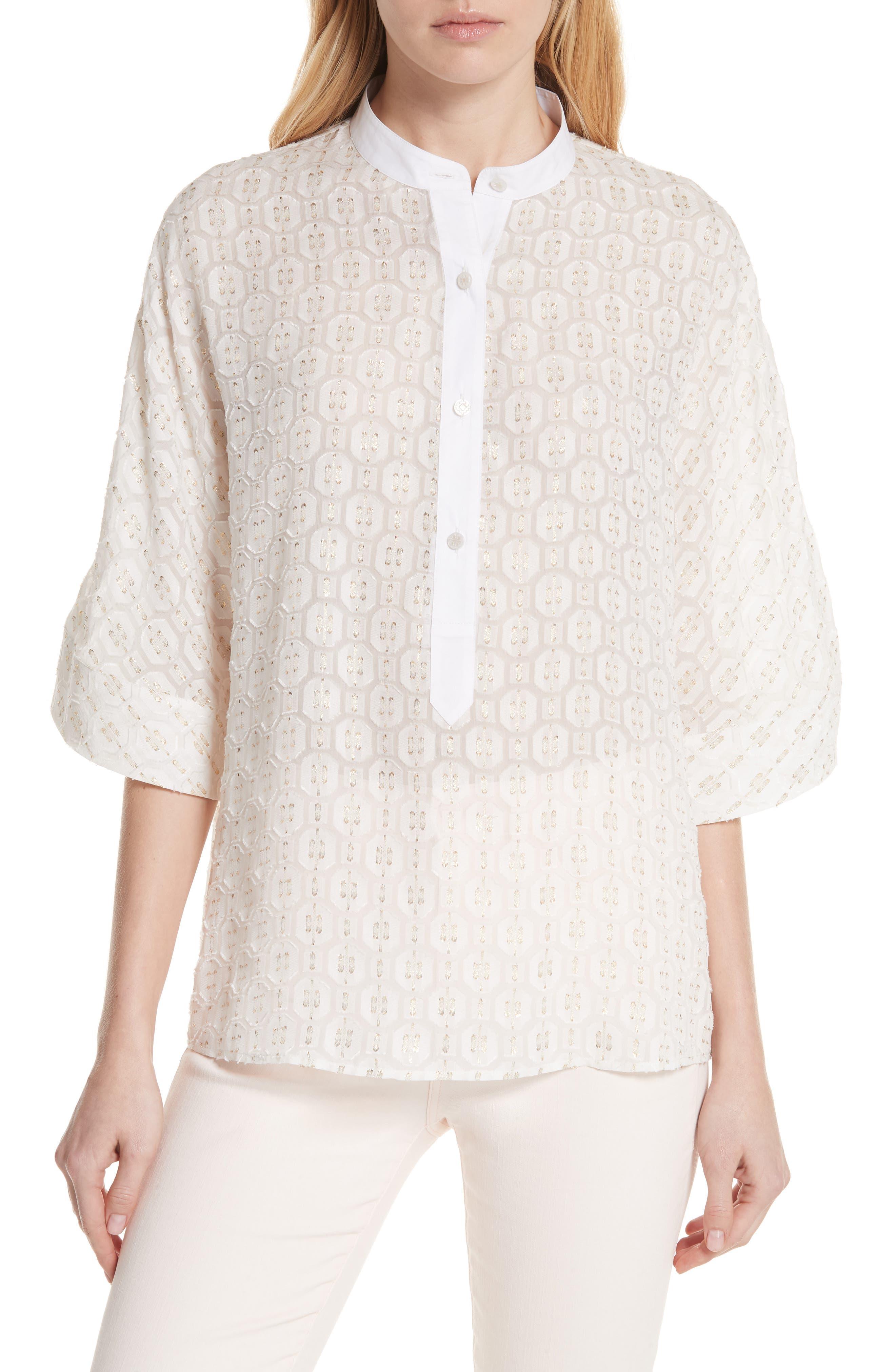 Tessa Silk Blend Top,                         Main,                         color, New Ivory