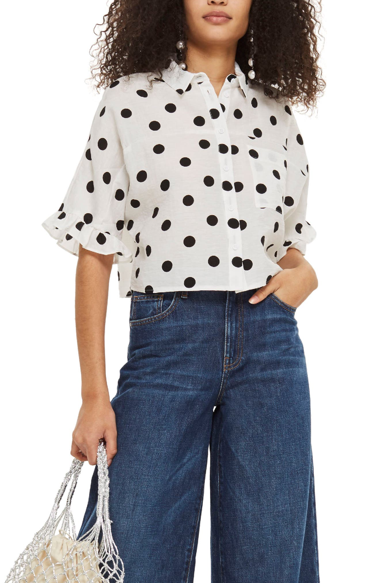 Fifi Frill Spot Shirt,                             Main thumbnail 1, color,                             White Multi