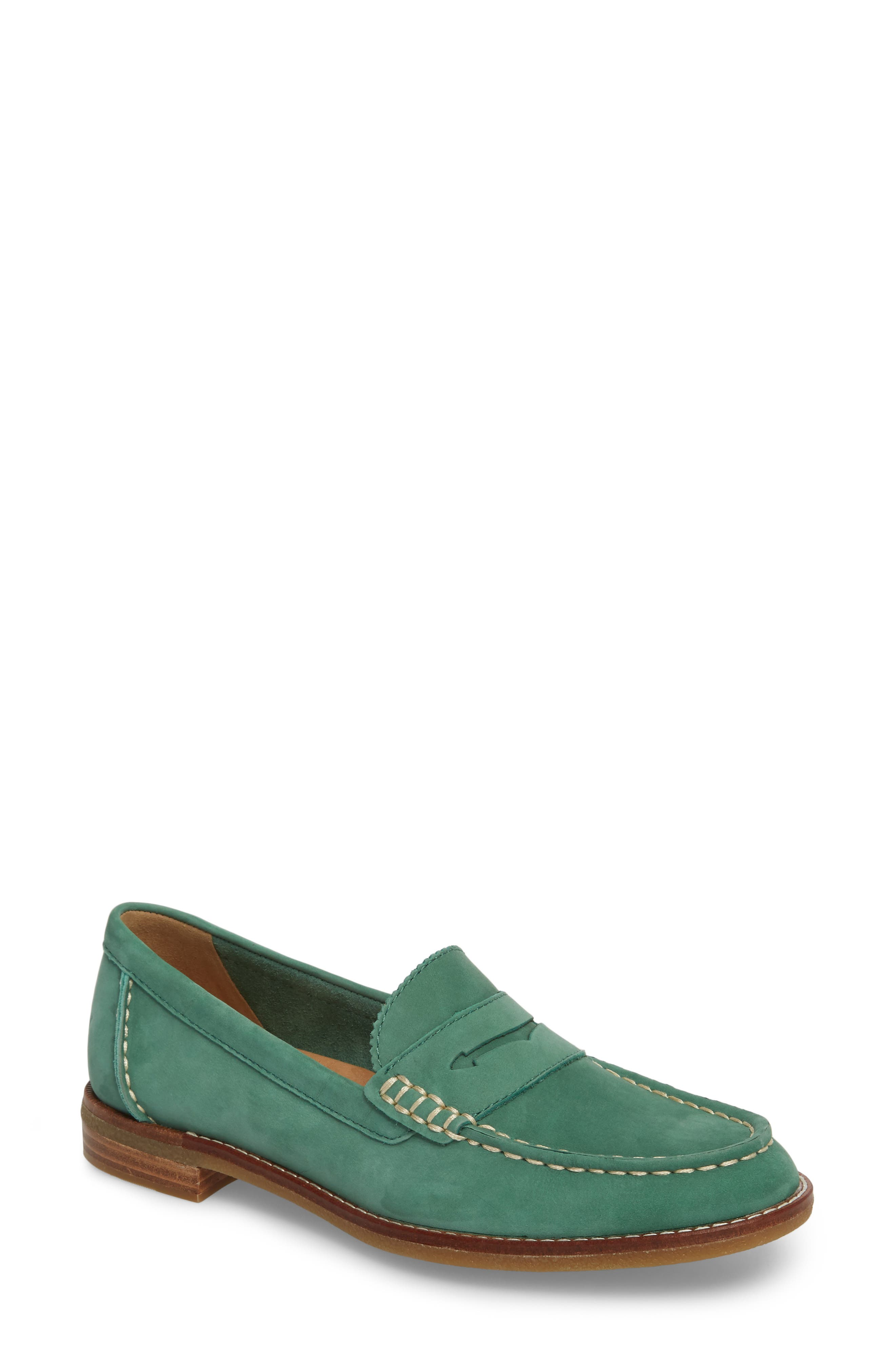 Seaport Penny Loafer,                         Main,                         color, Green Leather