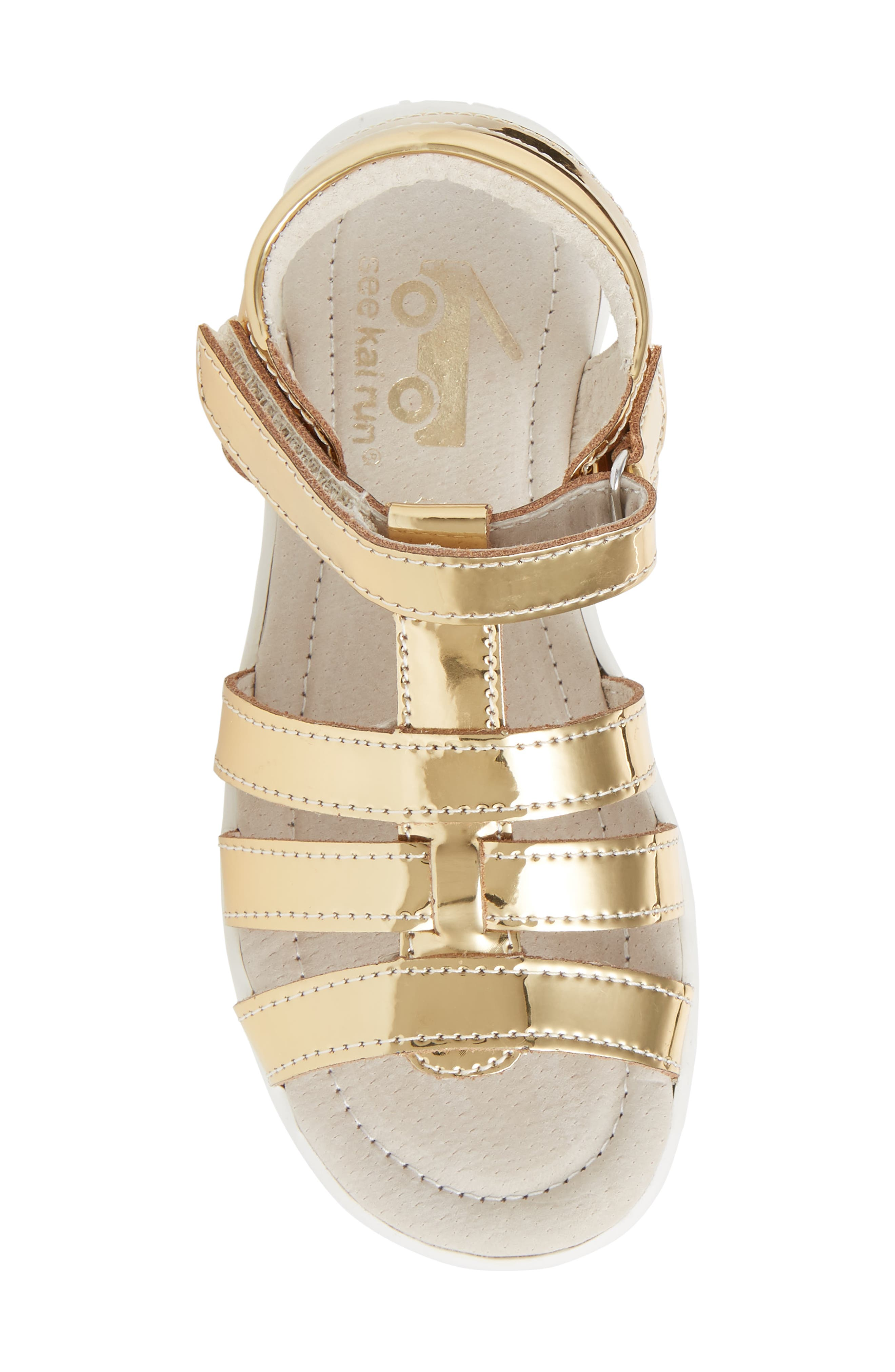 Fe Metallic Fisherman Sandal,                             Alternate thumbnail 5, color,                             Gold