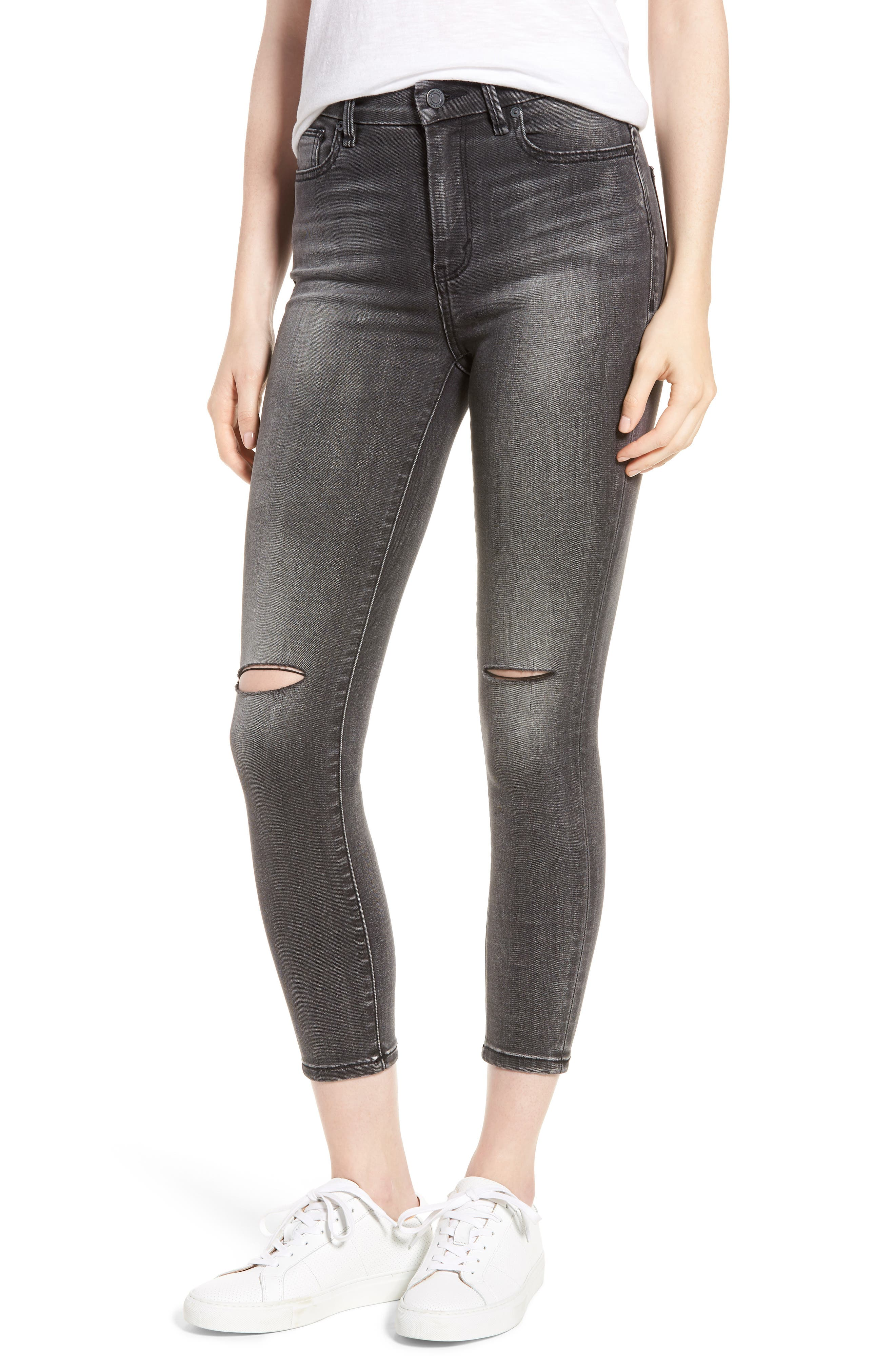 Cressa High Rise Ankle Skinny Jeans,                             Main thumbnail 1, color,                             Obsidian