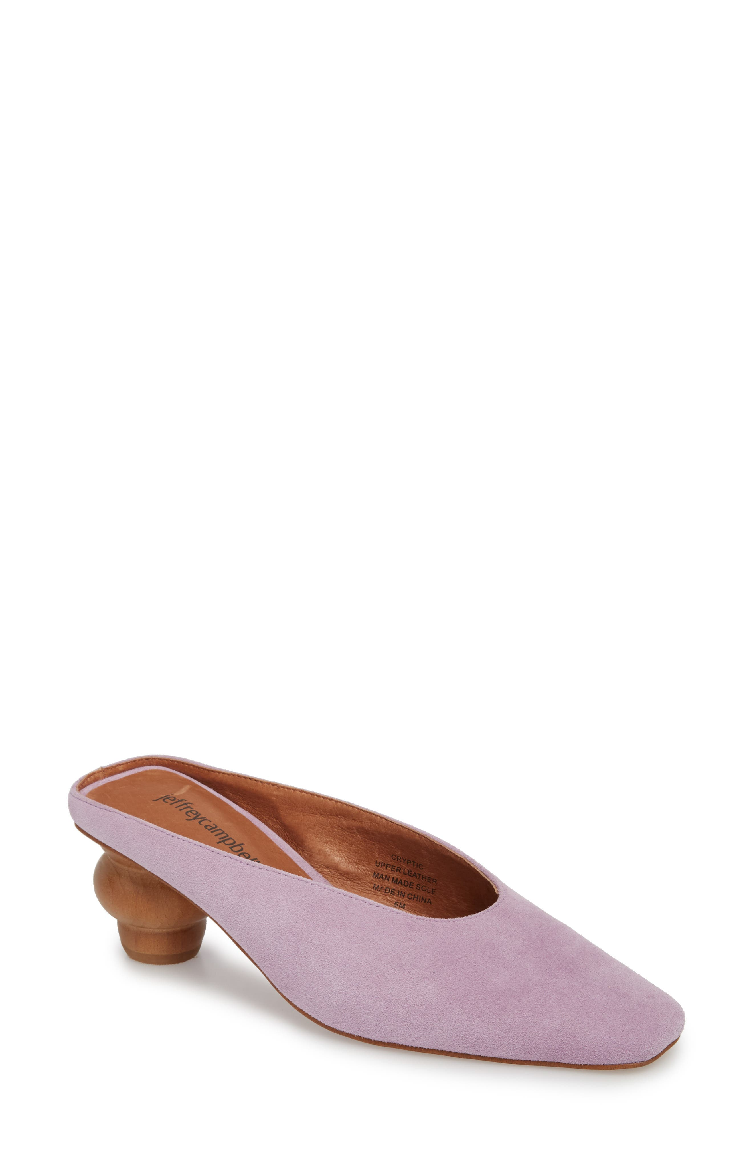 Cryptic Statement Heel Mule,                             Main thumbnail 1, color,                             Lilac Suede