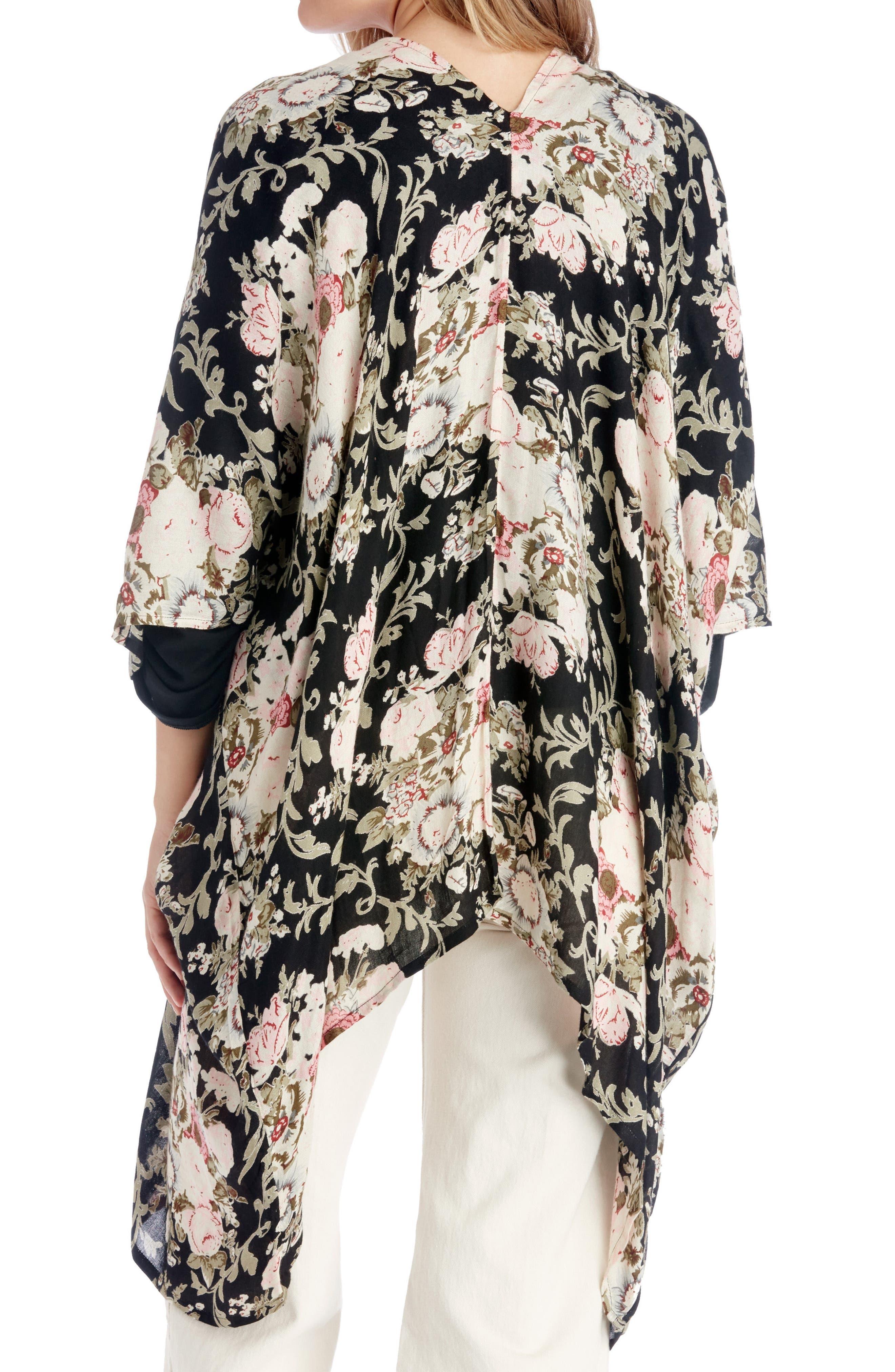 Romantic Floral Kimono,                             Alternate thumbnail 2, color,                             Black Multi