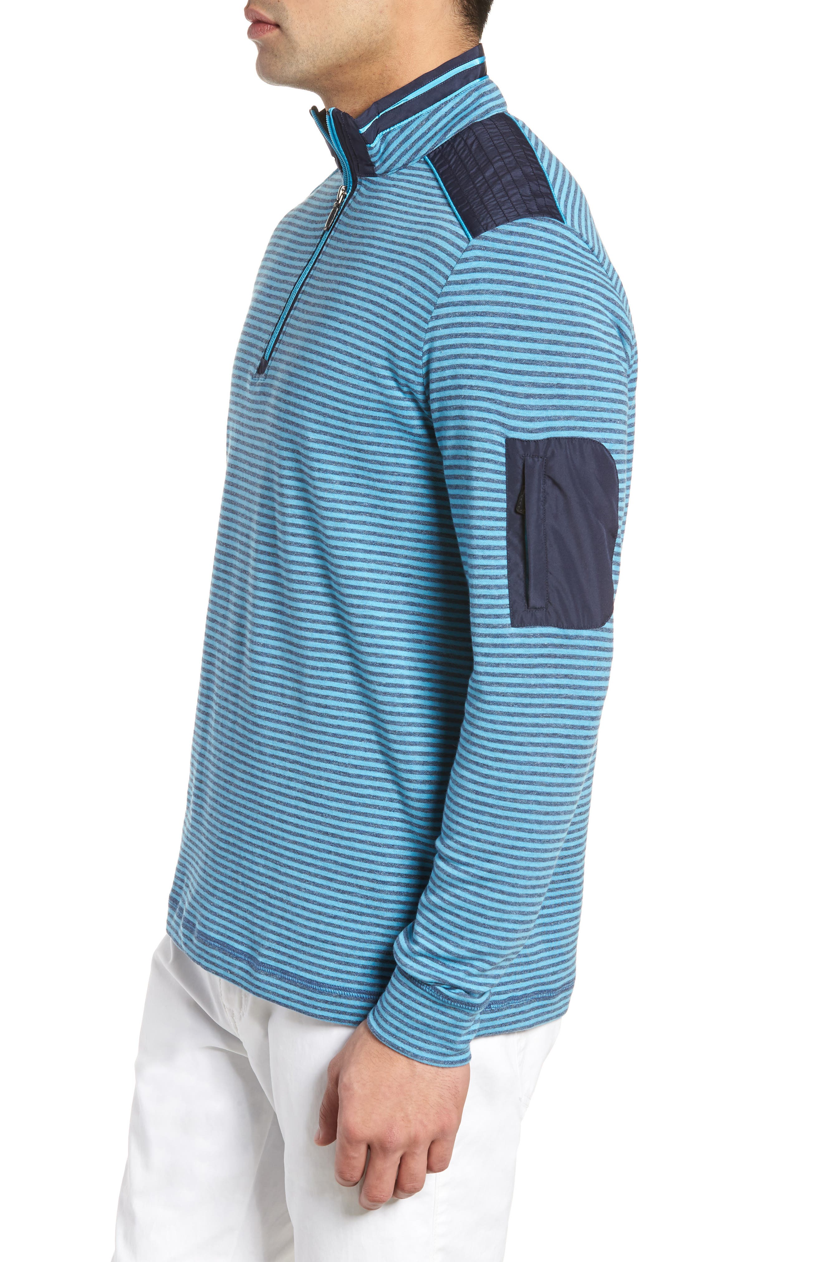 Regular Fit Stripe Quarter Zip Pullover,                             Alternate thumbnail 3, color,                             Sky
