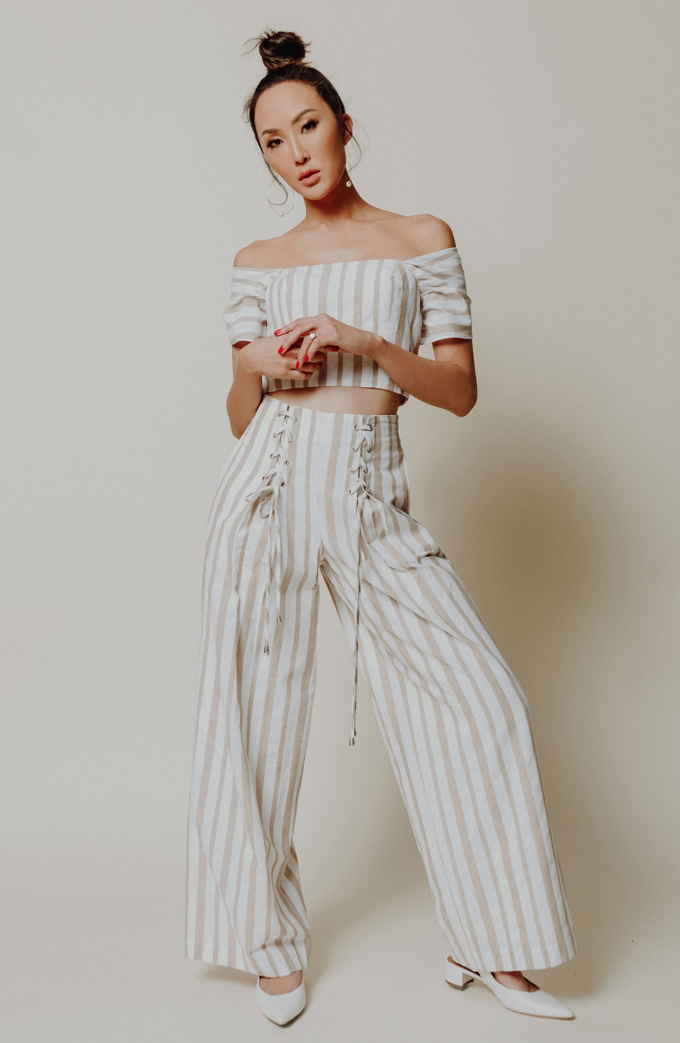 Chriselle x J.O.A. Lace-Up High Waist Wide Leg Pants,                             Alternate thumbnail 12, color,                             Sand Stripe