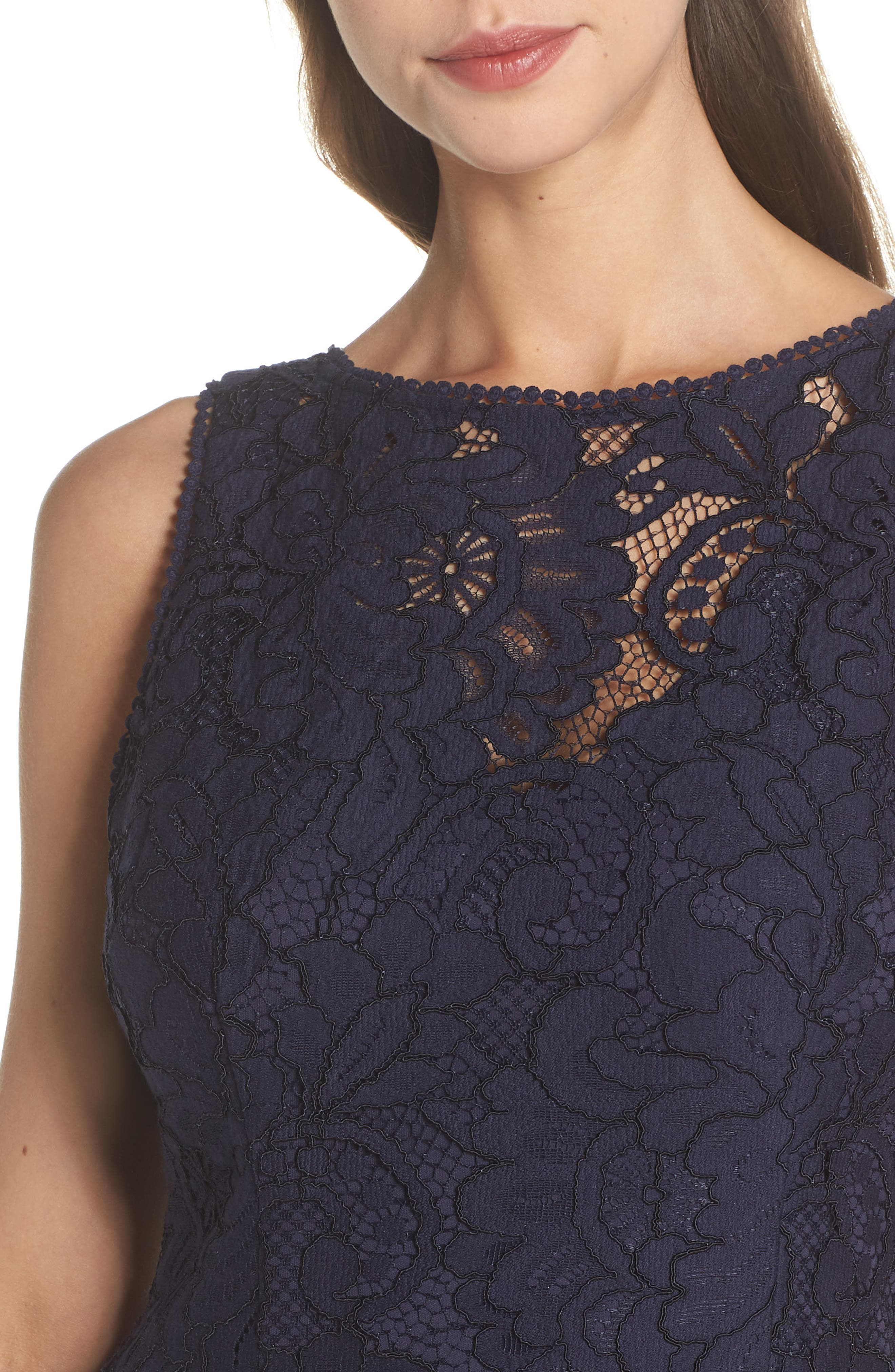 Lace Sheath Dress,                             Alternate thumbnail 4, color,                             Navy