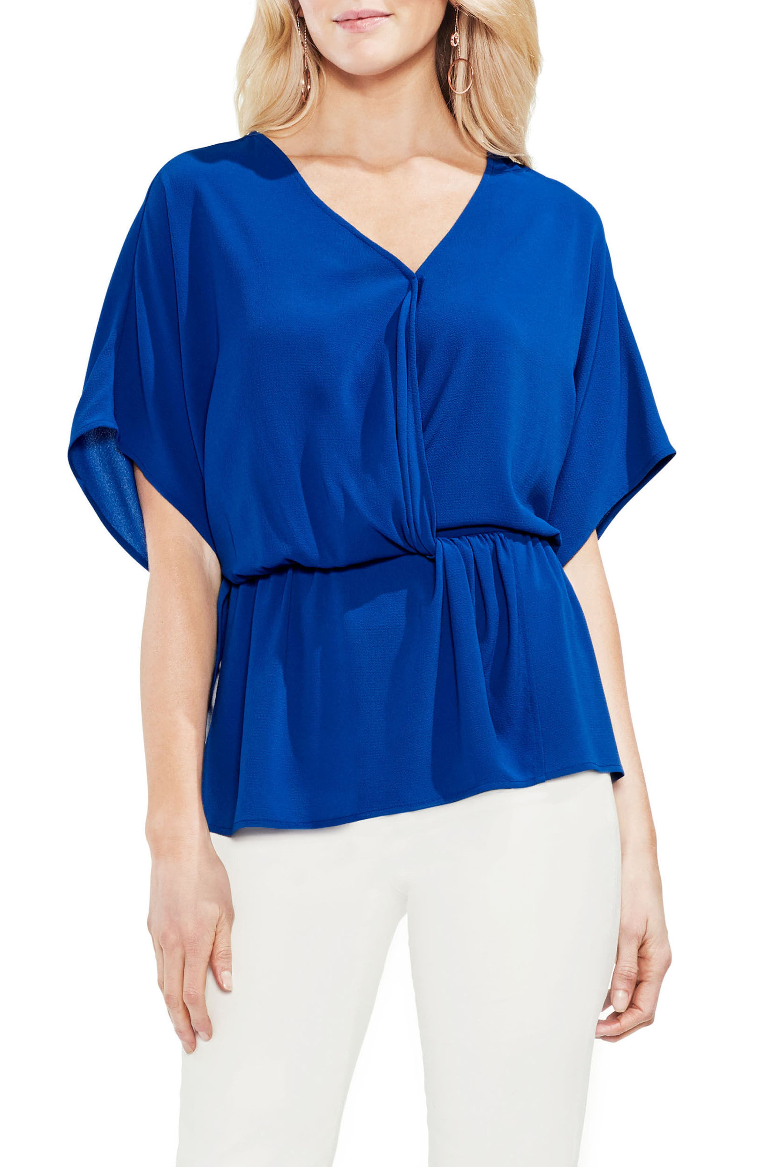 Cinch Front Stretch Crepe Blouse,                         Main,                         color, Amalfi