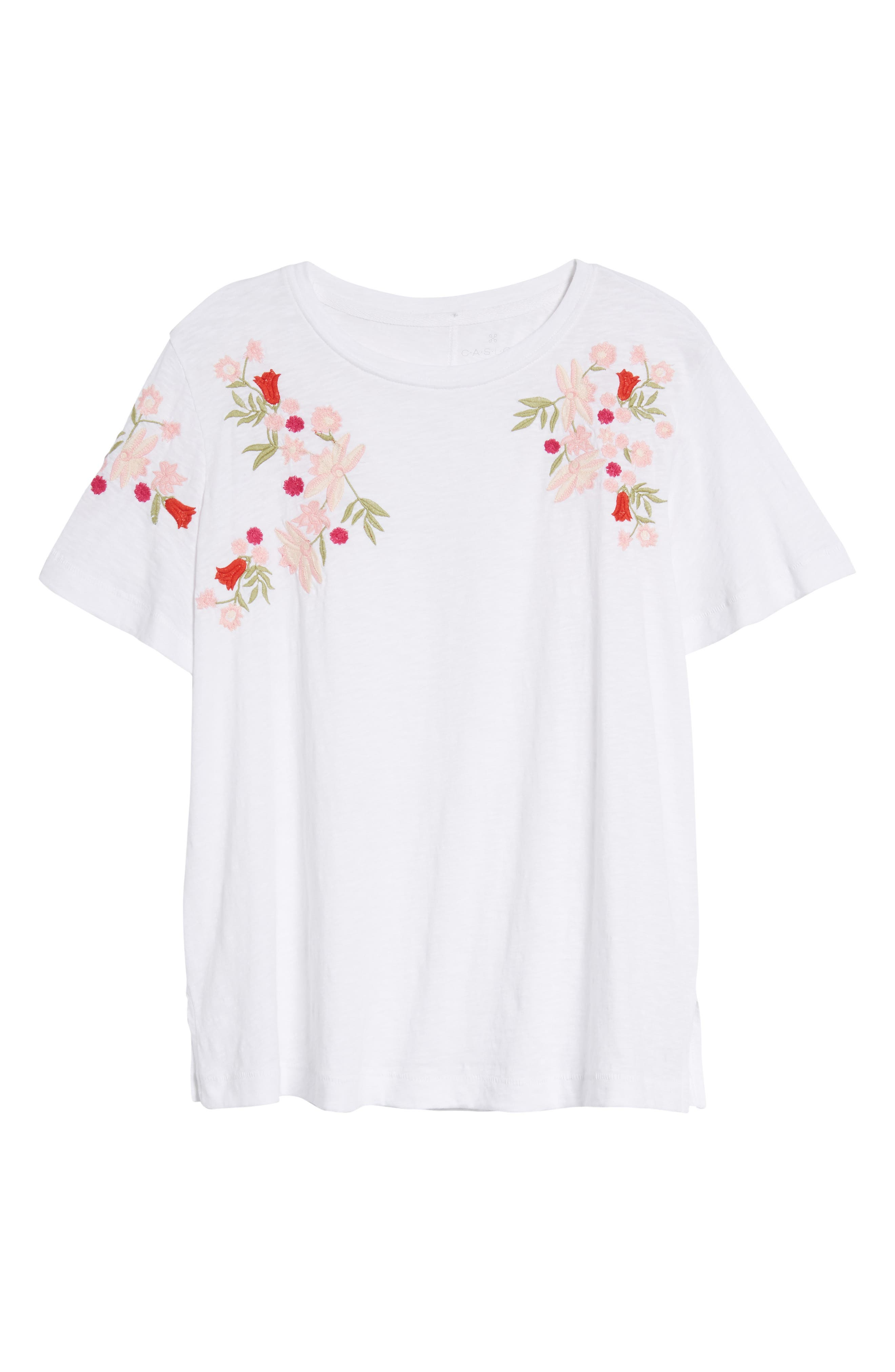 Embroidered Tee,                             Alternate thumbnail 7, color,                             White- Red Lucille