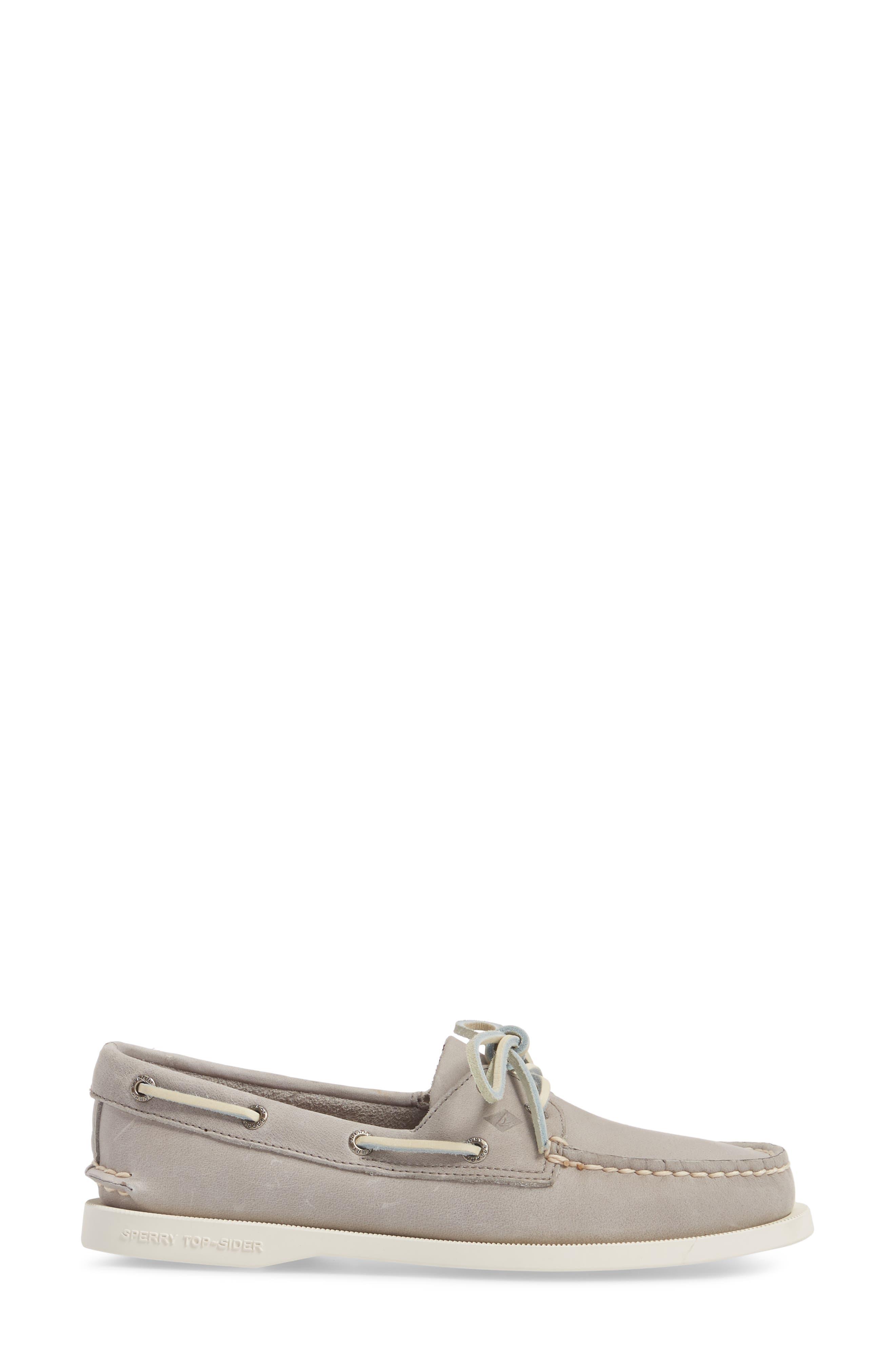 'Authentic Original' Boat Shoe,                             Alternate thumbnail 3, color,                             Grey Leather