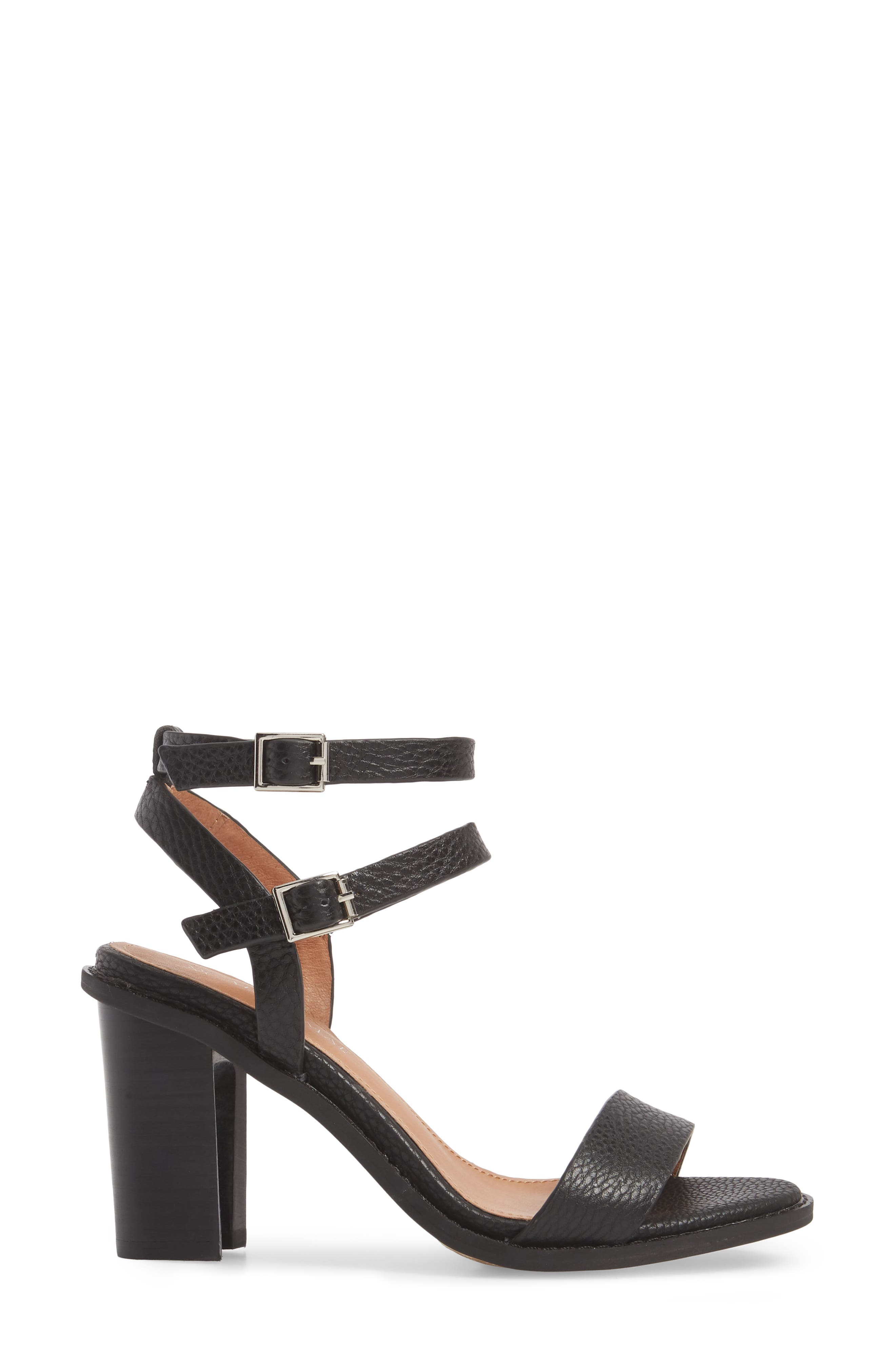 Elapse Sandal,                             Alternate thumbnail 3, color,                             Black Leather