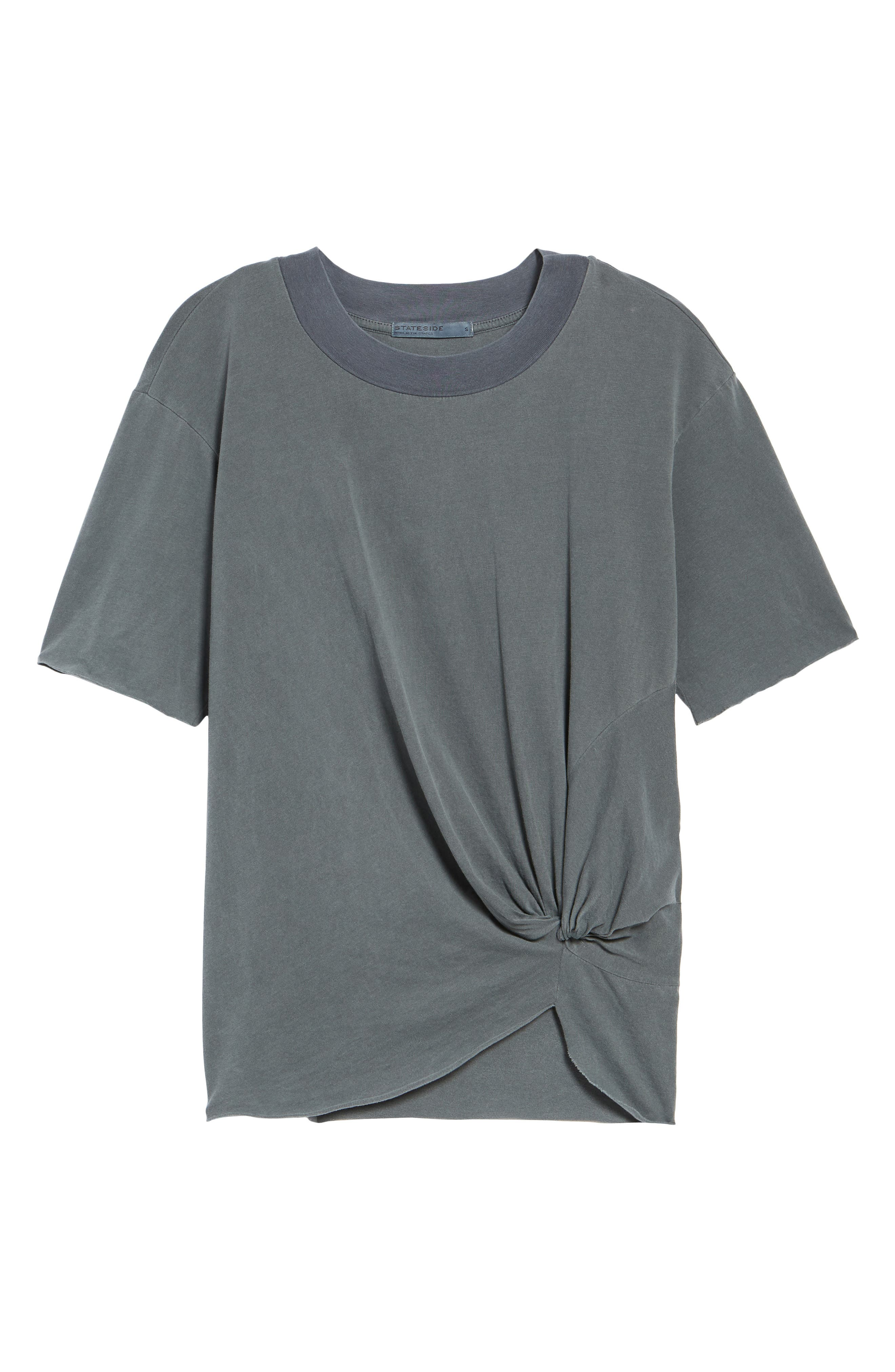 Twist Hem Brushed Jersey Tee,                             Alternate thumbnail 6, color,                             Charcoal