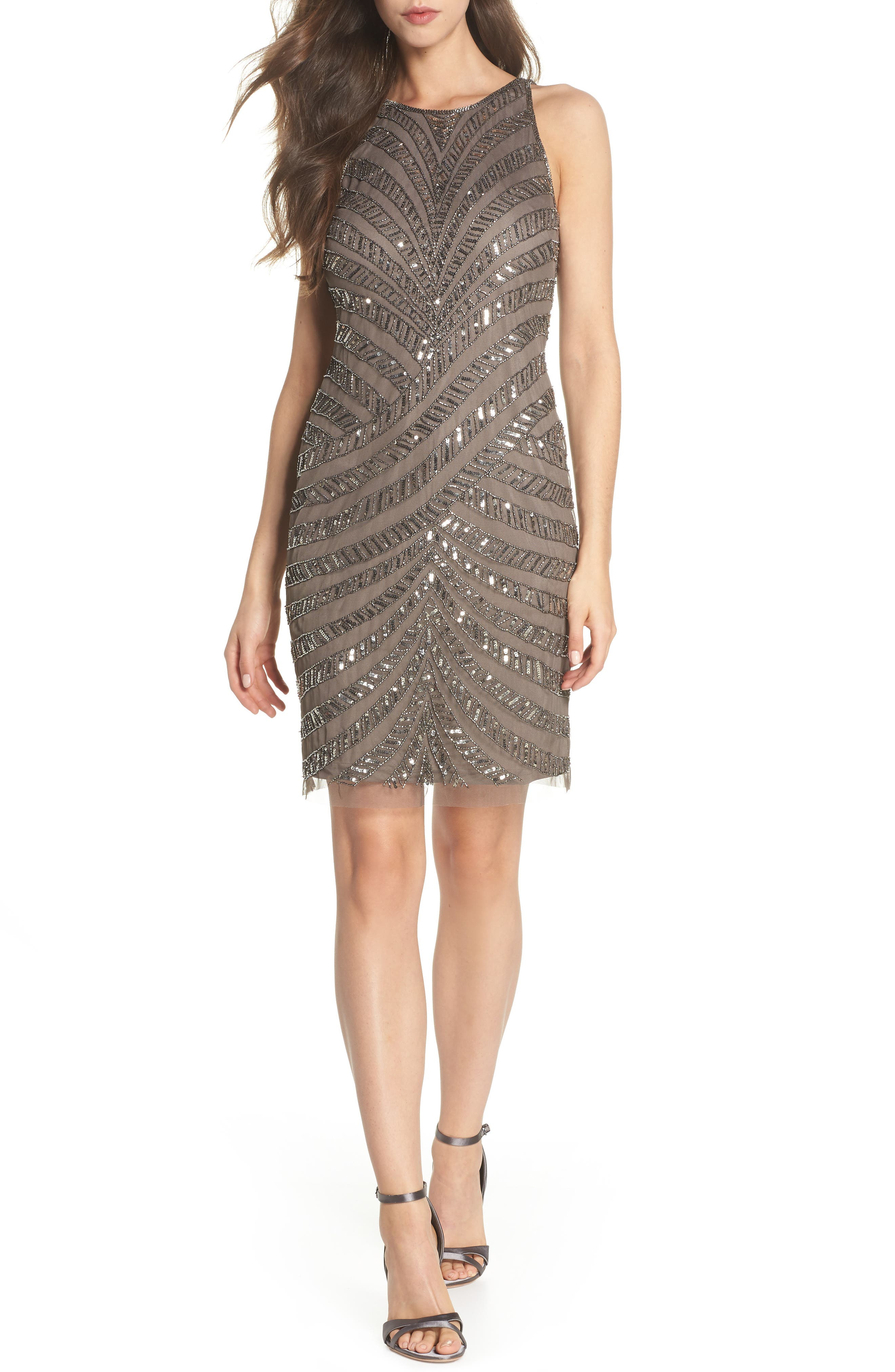 Adrianna Papell Beaded Tulle Sheath Dress