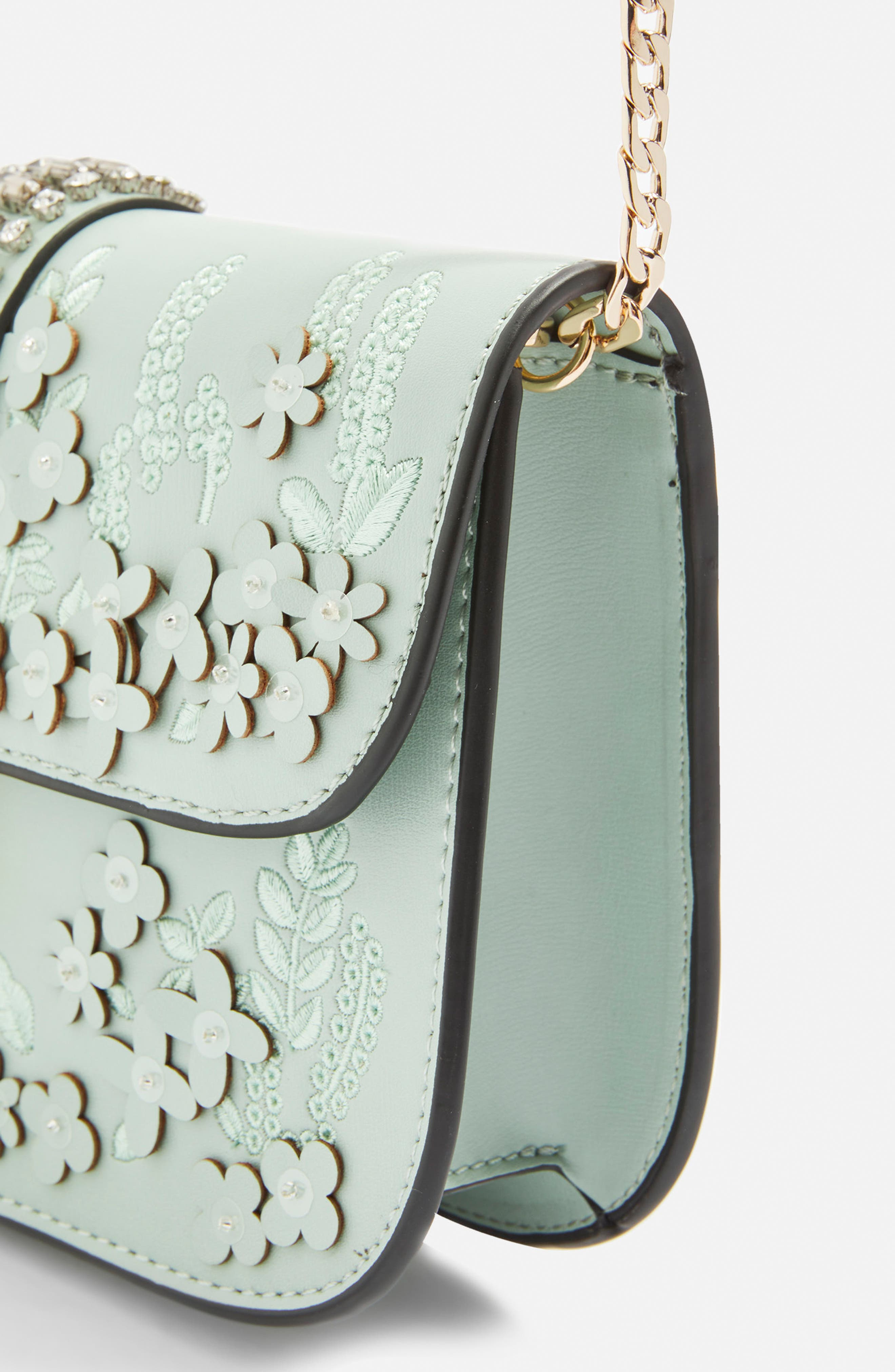 Petal 3D Flower Embroidered Crossbody Bag,                             Alternate thumbnail 4, color,                             Mint