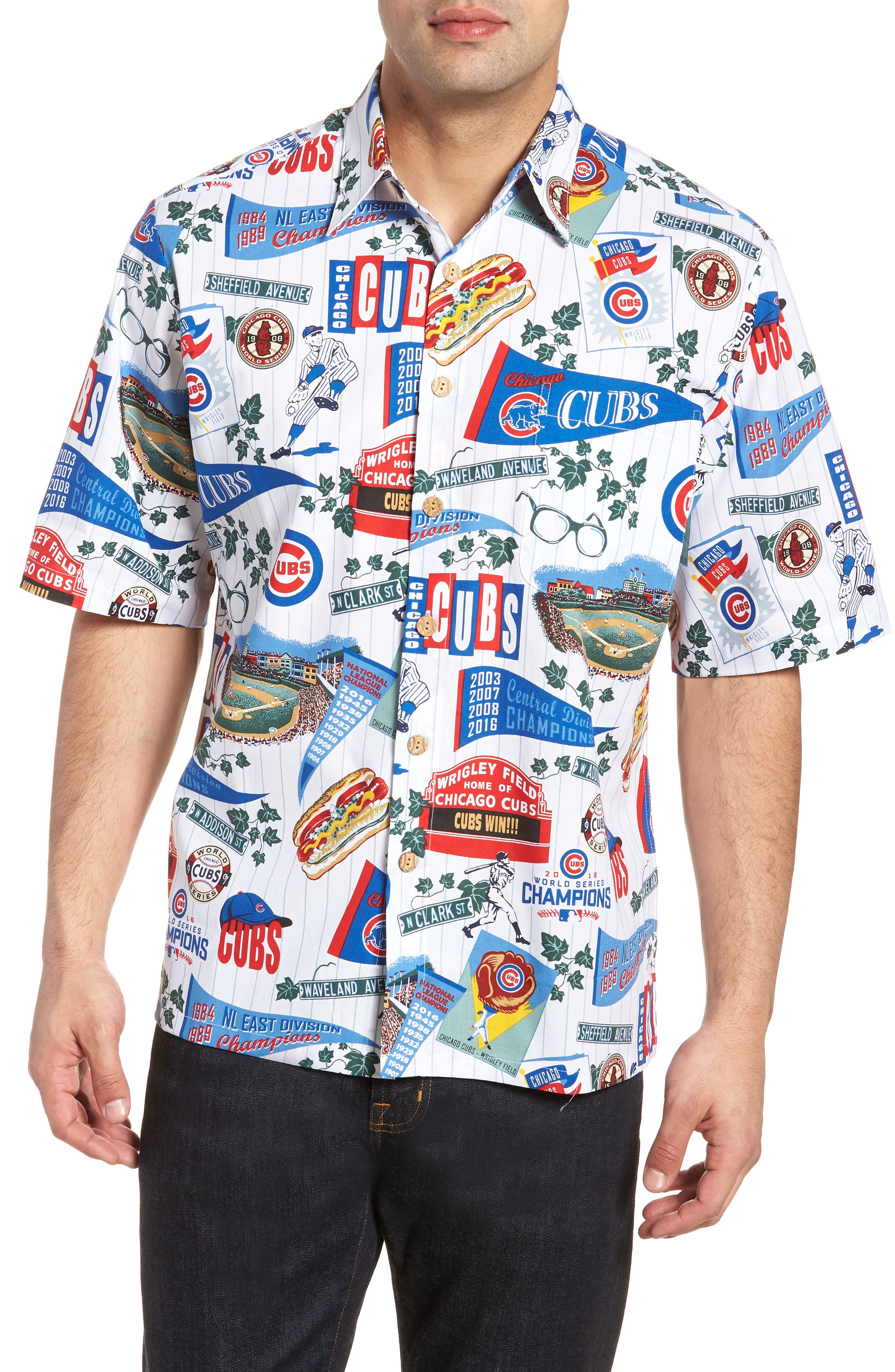 Chicago Cubs Classic Fit Camp Shirt,                             Main thumbnail 1, color,                             Scenic