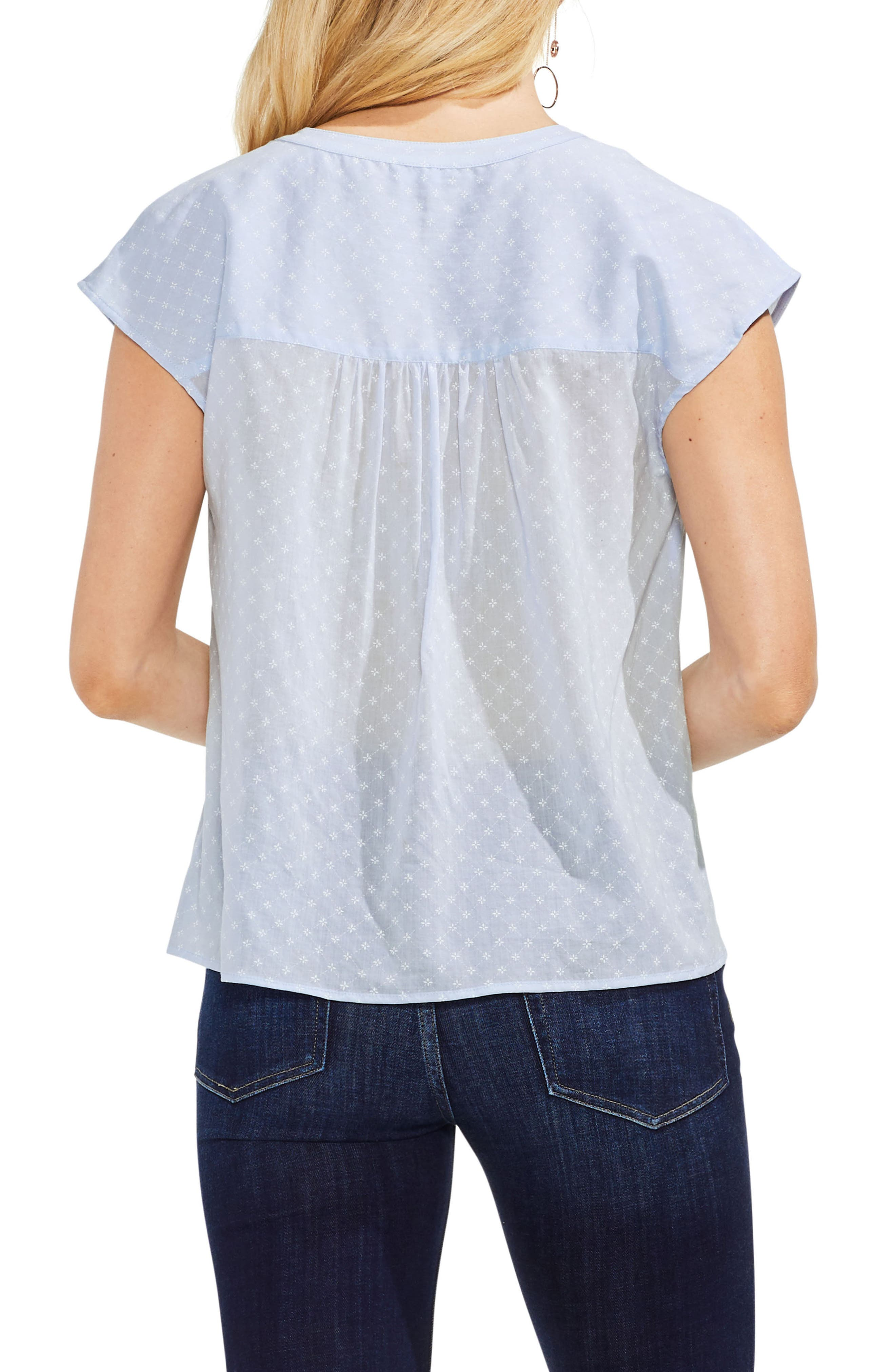 Floral Embroidered Top,                             Alternate thumbnail 2, color,                             Dew Blue