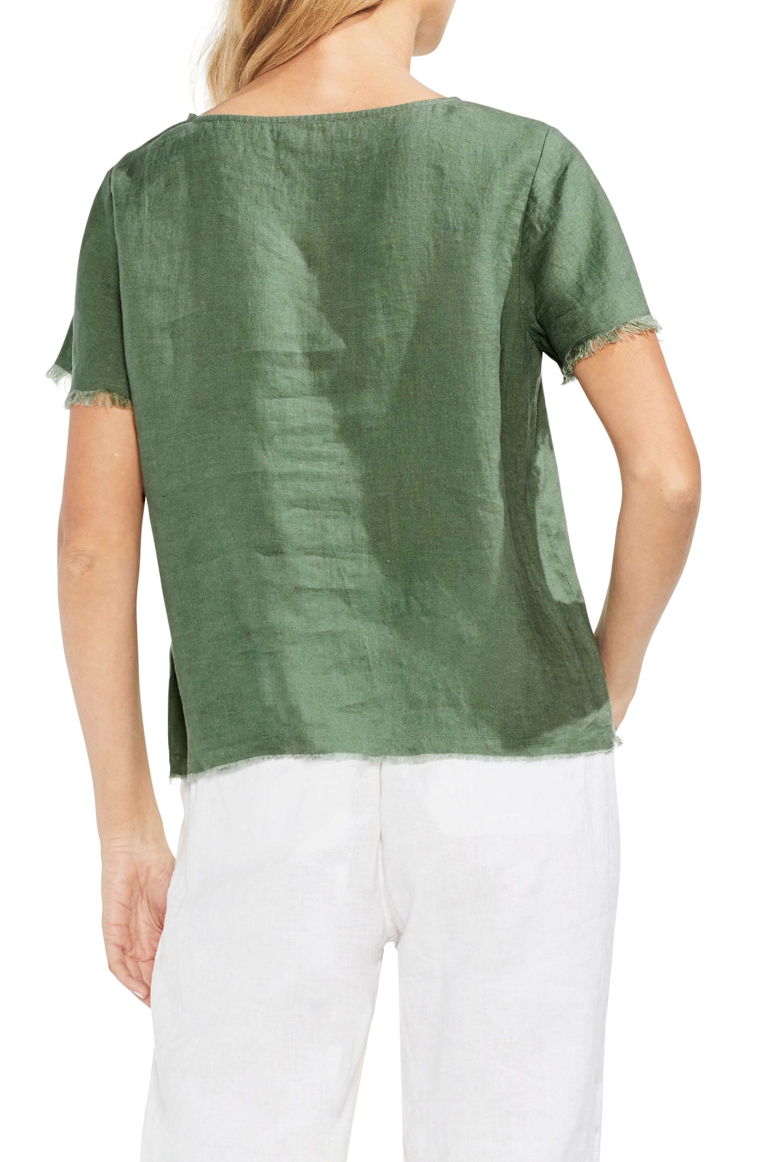 Frayed Edge Linen Tee,                             Alternate thumbnail 2, color,                             Canopy Green