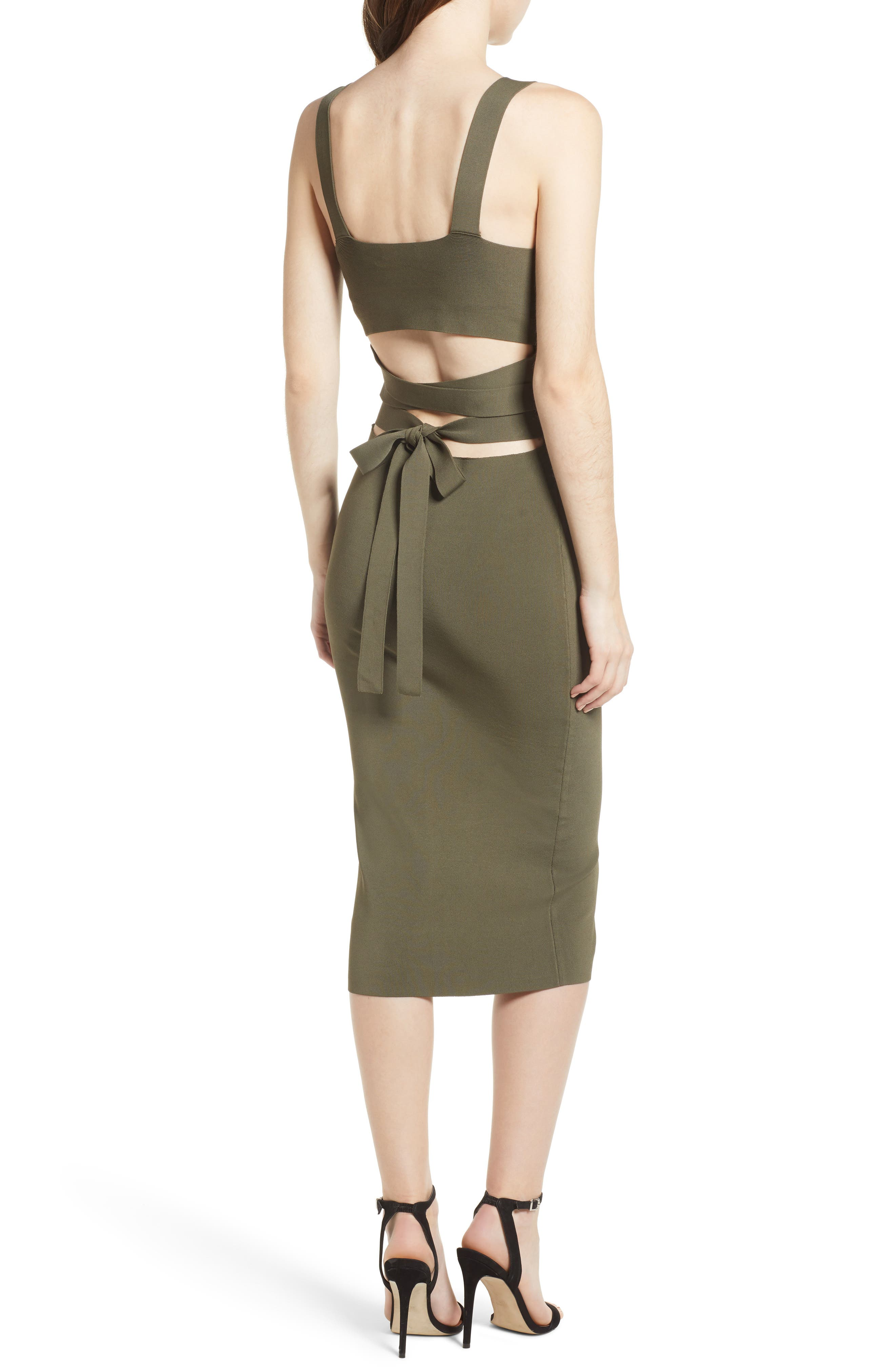 Strappy Back Sweater Dress,                             Alternate thumbnail 2, color,                             Olive Sarma