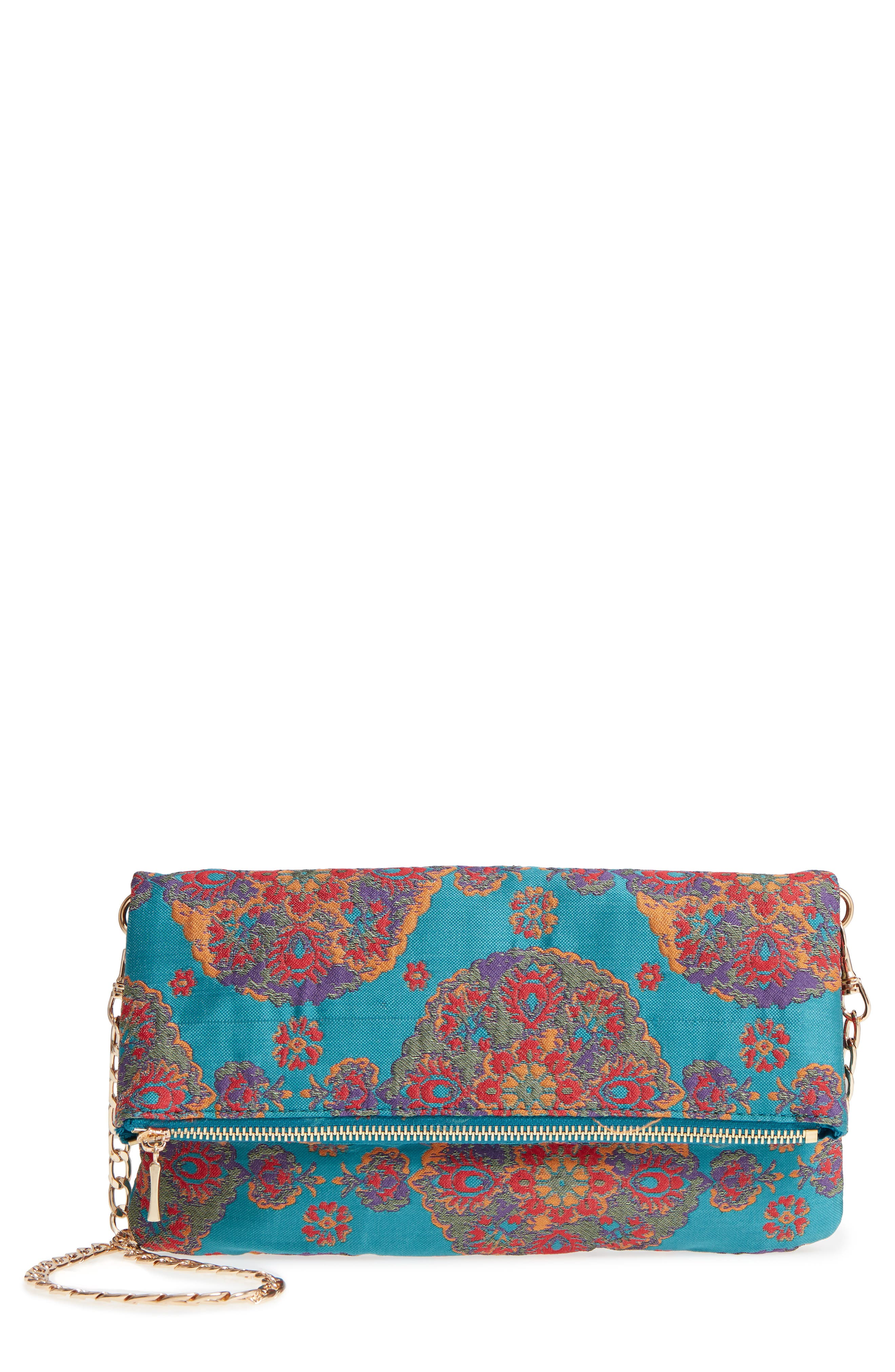 Sole Society Floral Jacquard Foldover Clutch
