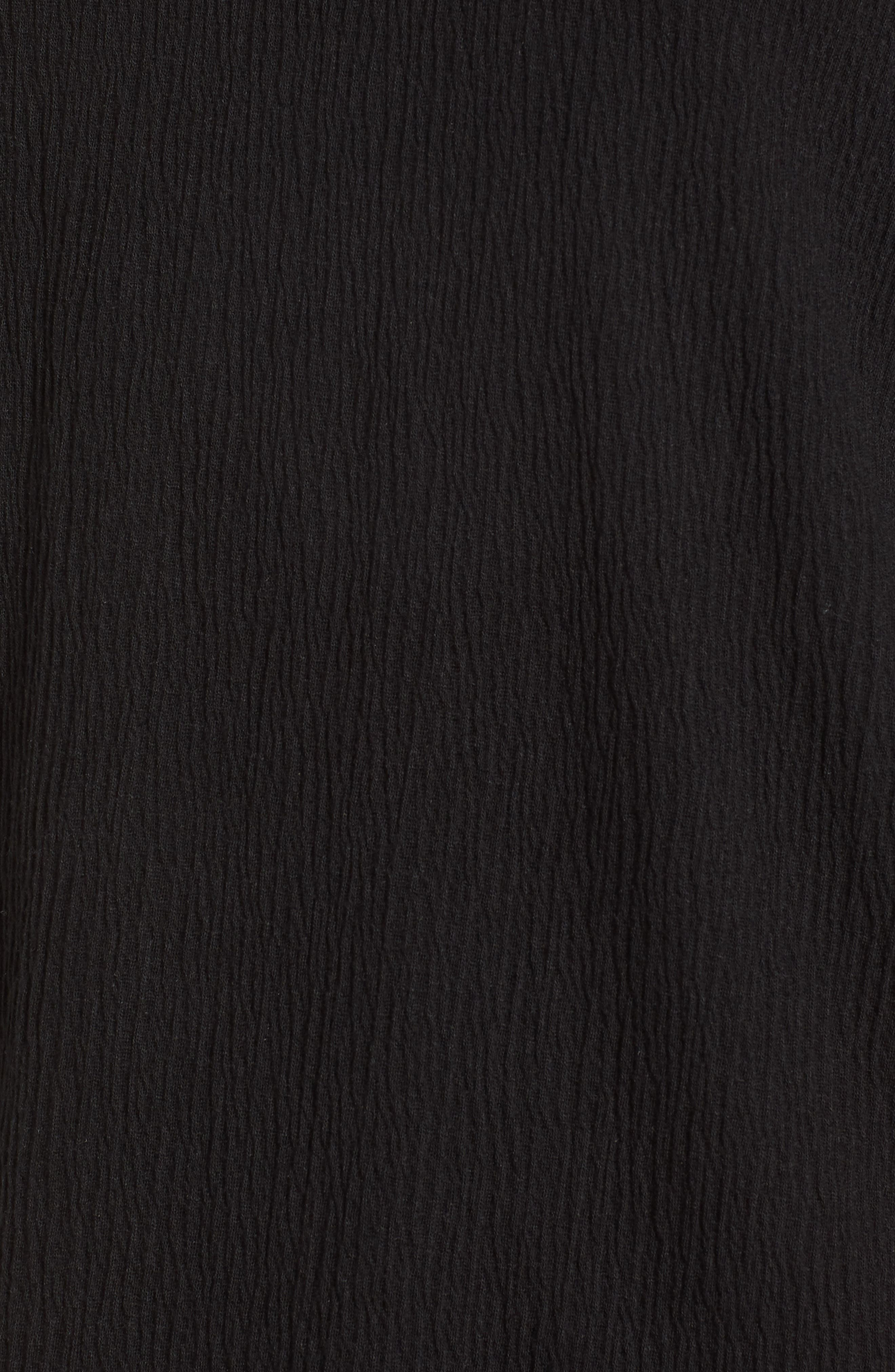 Ruffle Sleeve Top,                             Alternate thumbnail 6, color,                             Black