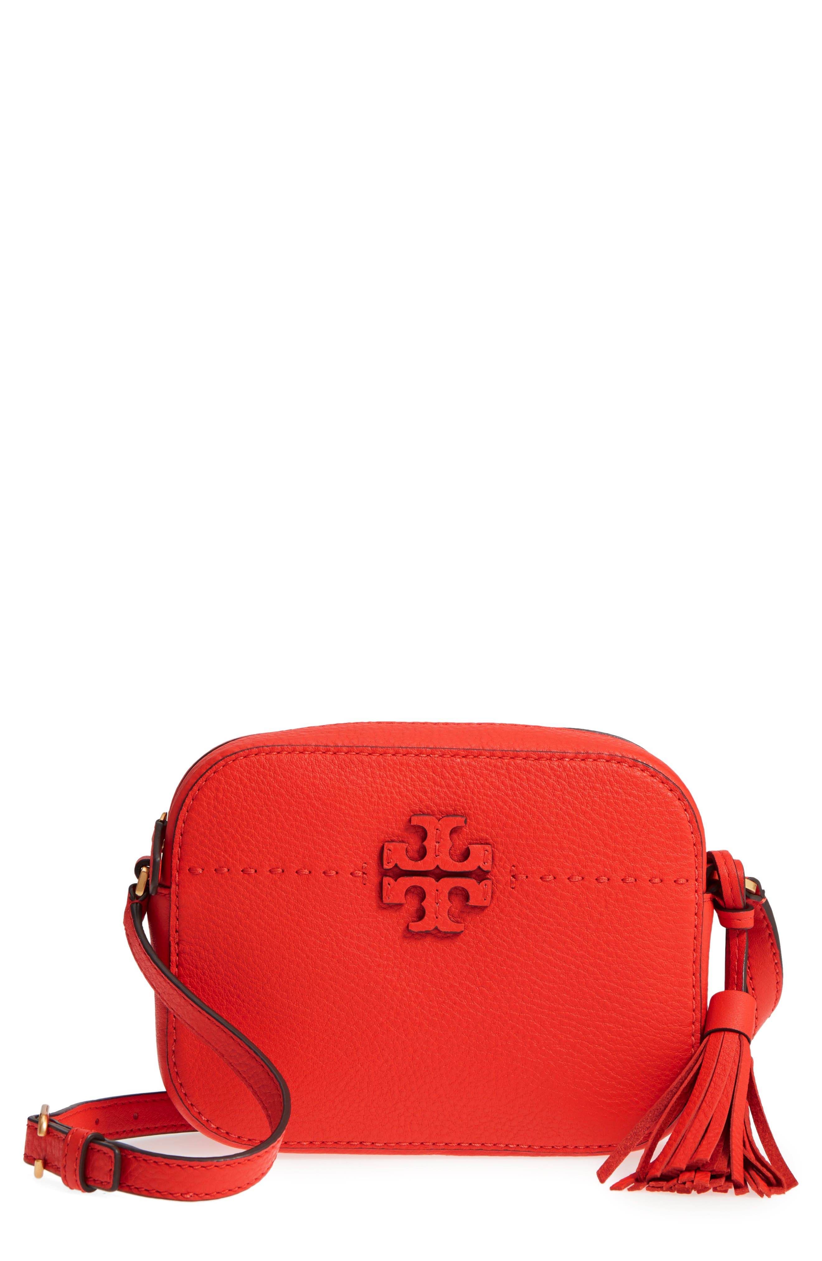 McGraw Leather Camera Bag,                             Main thumbnail 1, color,                             Poppy Red