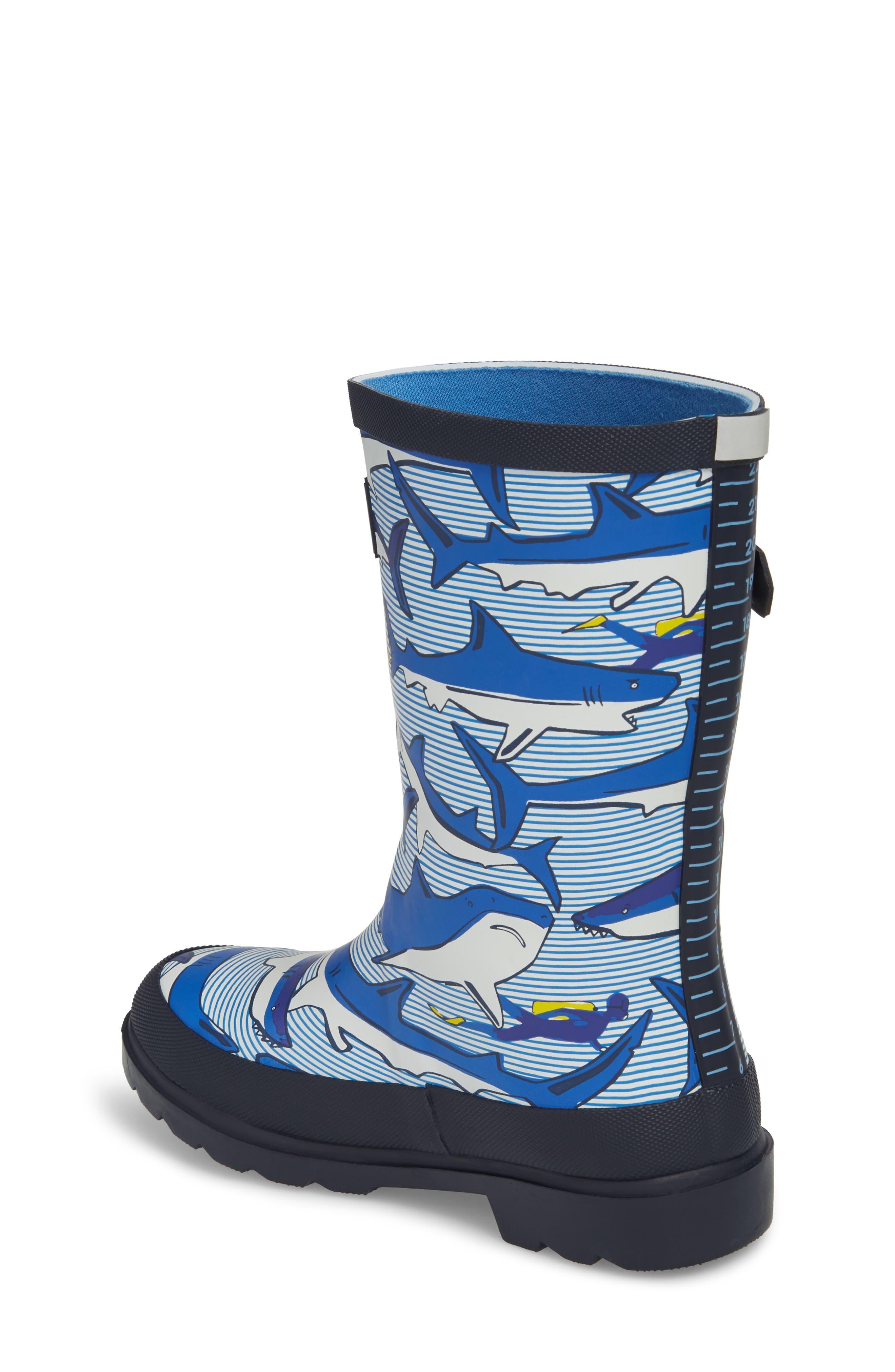 Mid Height Print Welly Rain Boot,                             Alternate thumbnail 2, color,                             Shark Dive Stripe