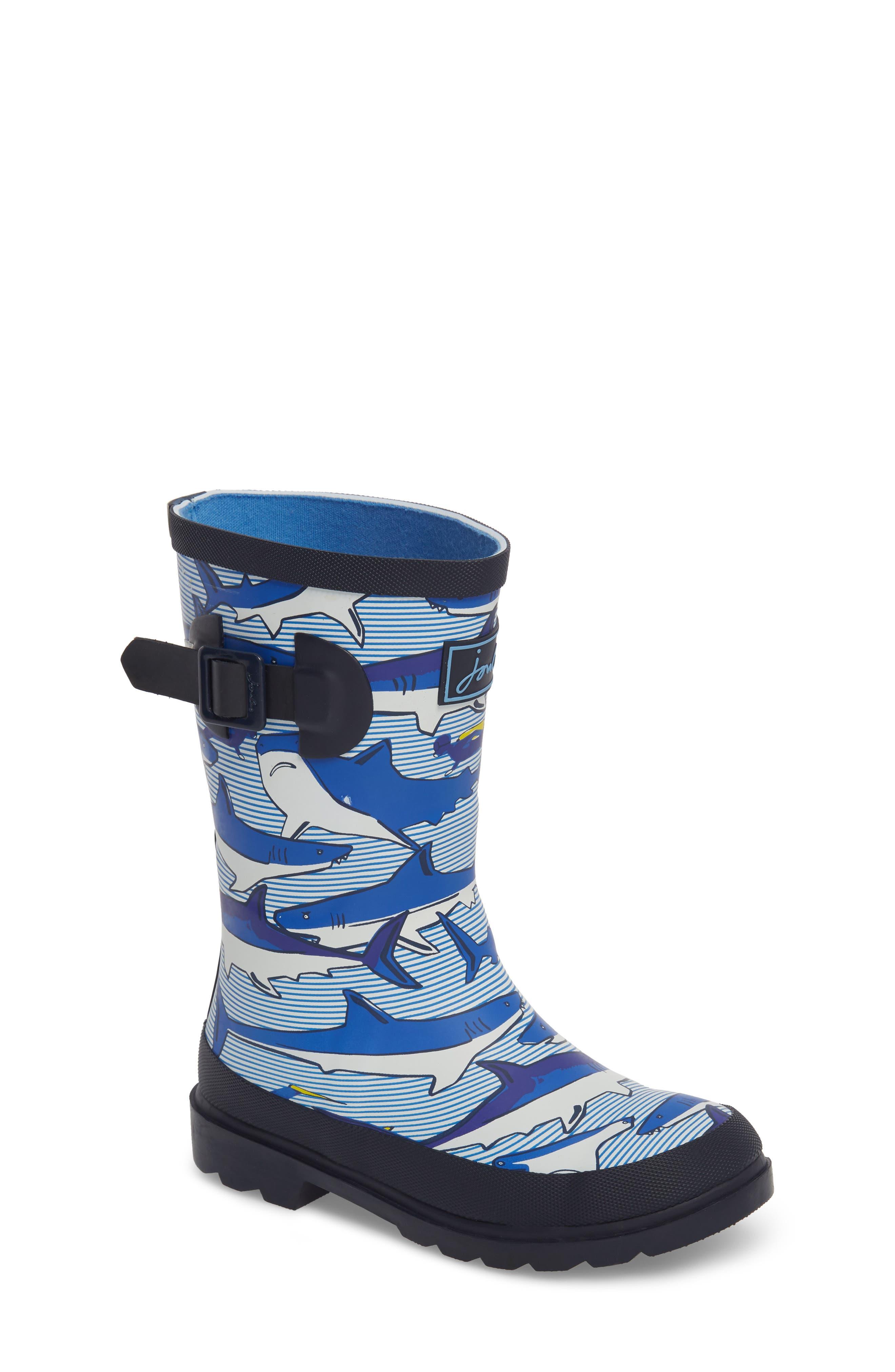 Mid Height Print Welly Rain Boot,                             Main thumbnail 1, color,                             Shark Dive Stripe