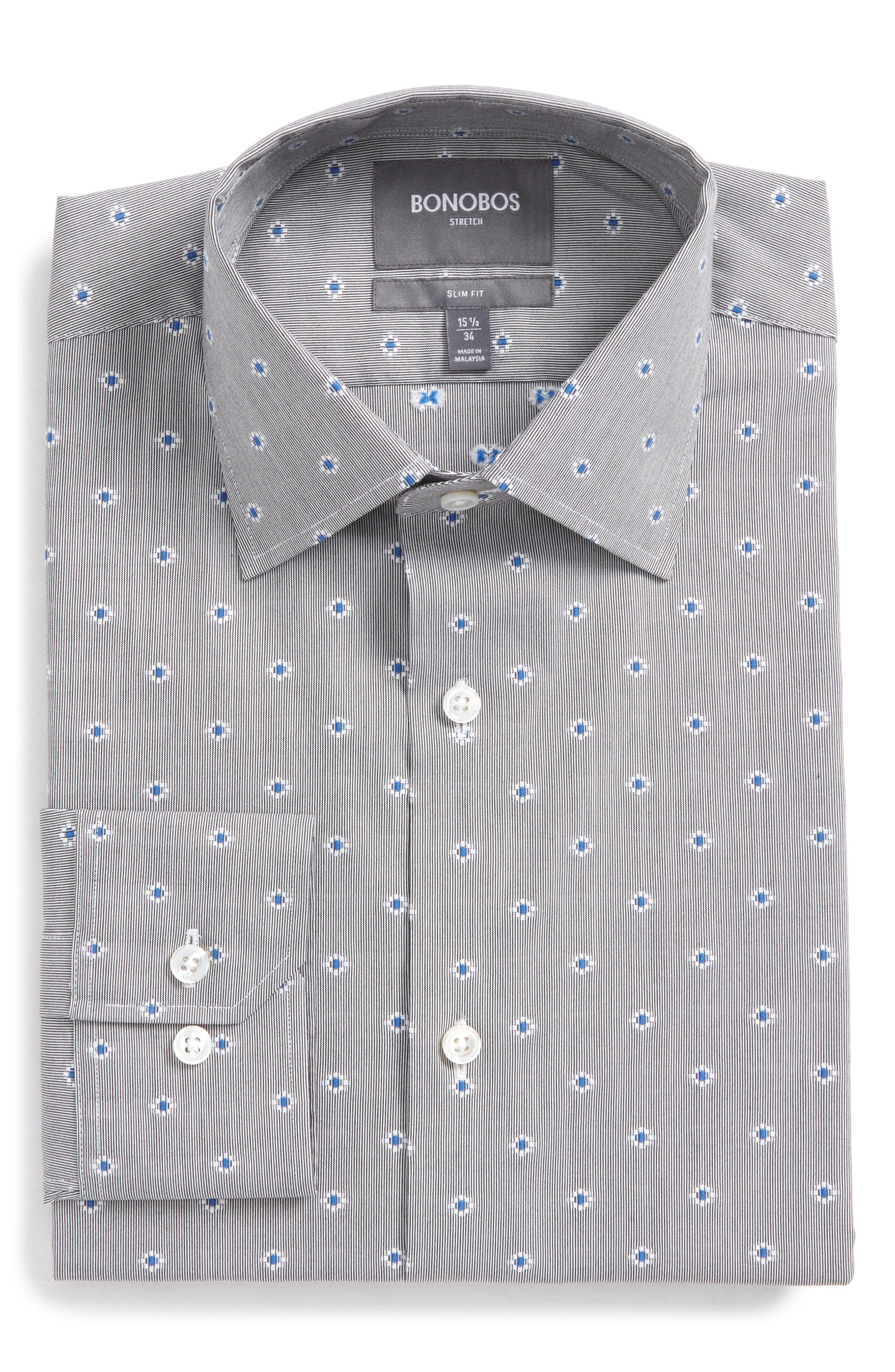 Jetsetter Slim Fit Stretch Jacquard Dress Shirt,                             Main thumbnail 1, color,                             Navy/ Grey