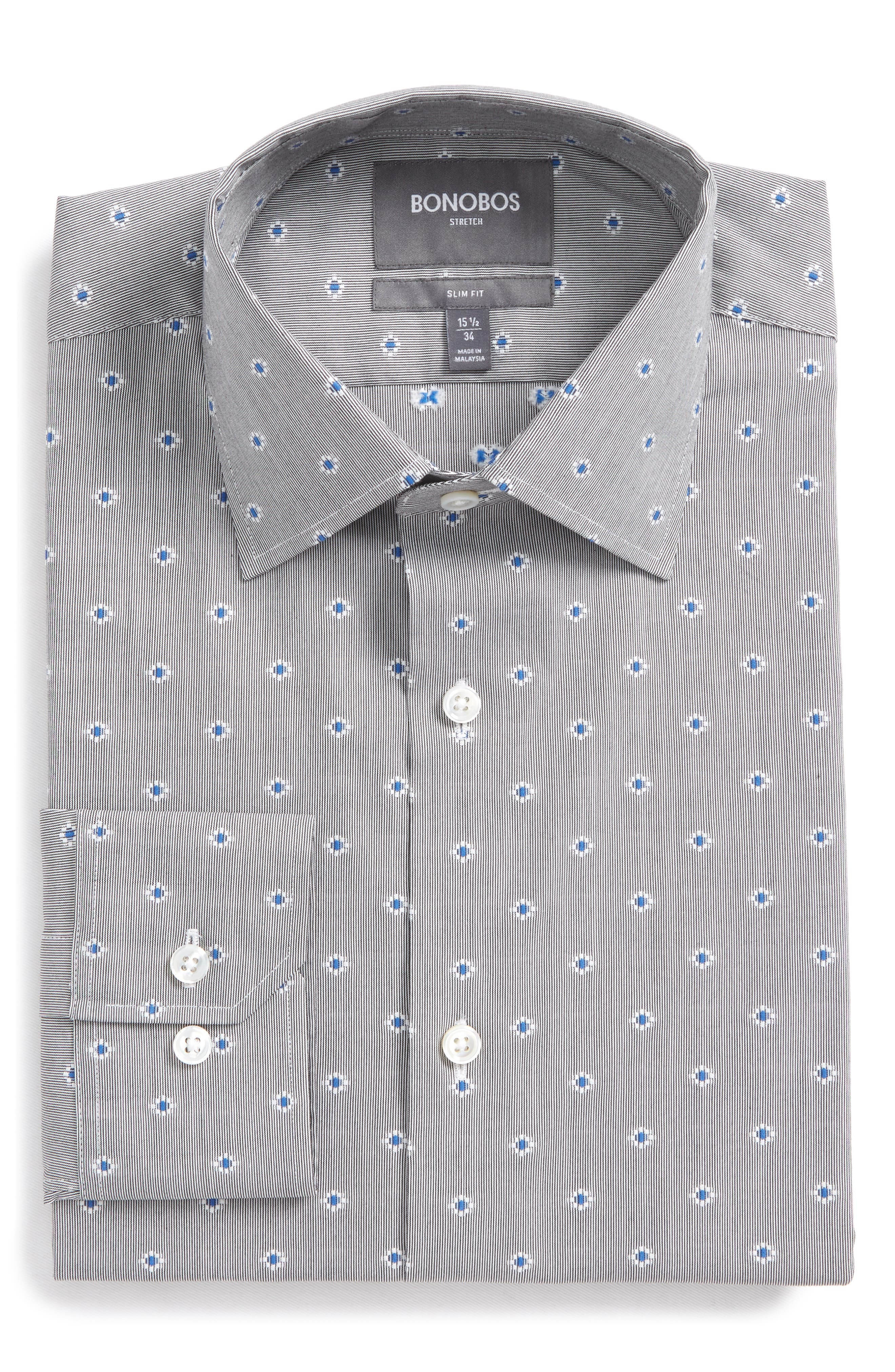 Jetsetter Slim Fit Stretch Jacquard Dress Shirt,                         Main,                         color, Navy/ Grey