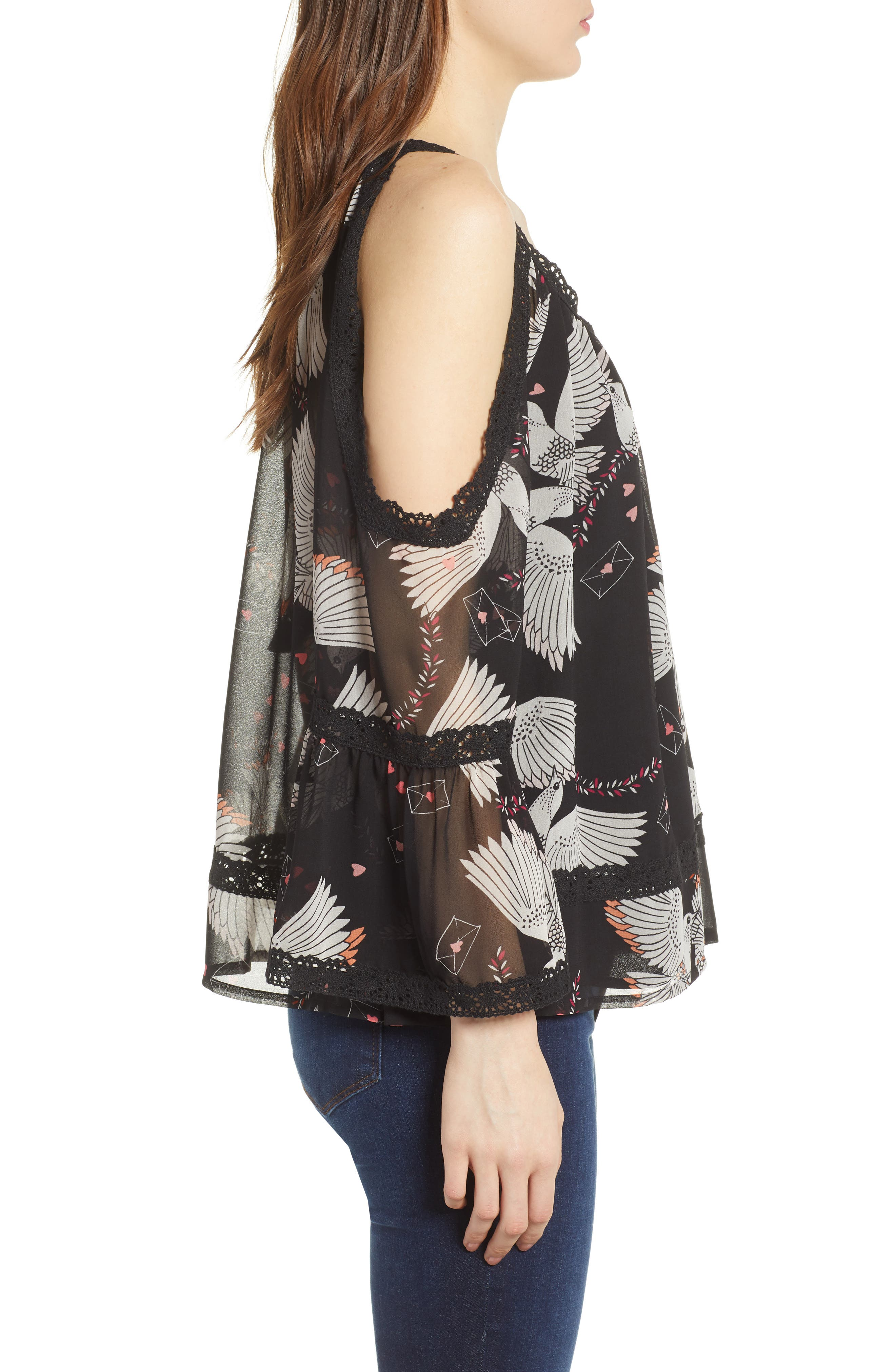 Deneuve Cold Shoulder Top,                             Alternate thumbnail 3, color,                             Black Multi