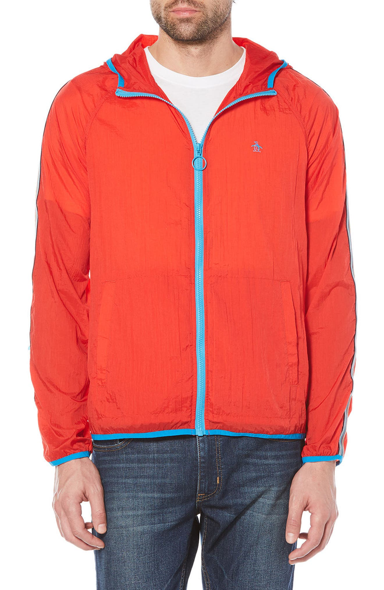 Lightweight Packable Jacket,                             Main thumbnail 1, color,                             Flame Scarlet
