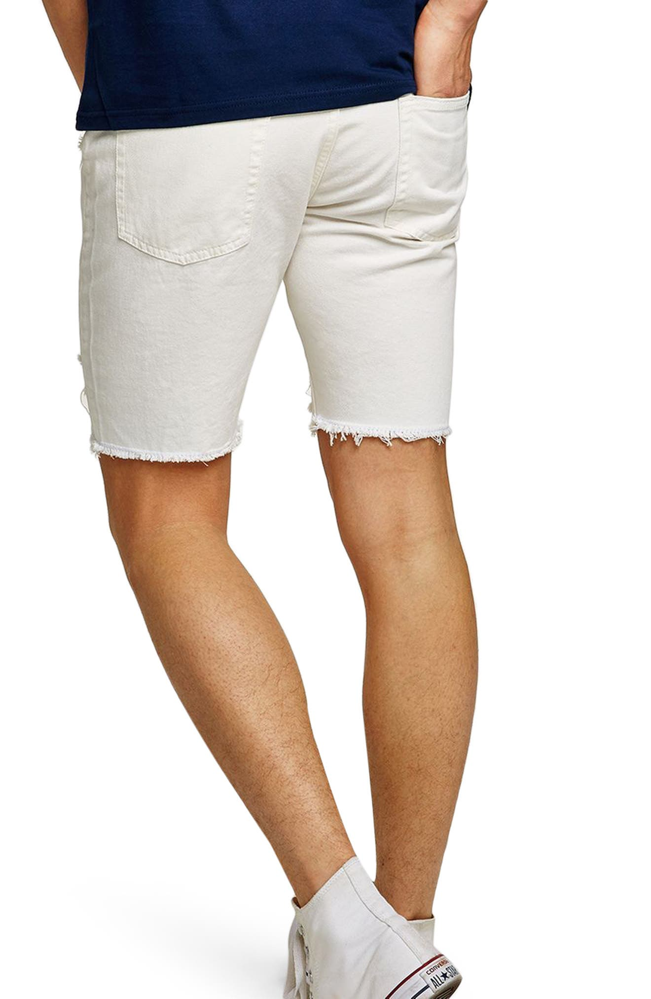 Slim Fit Ripped Denim Shorts,                             Alternate thumbnail 2, color,                             White