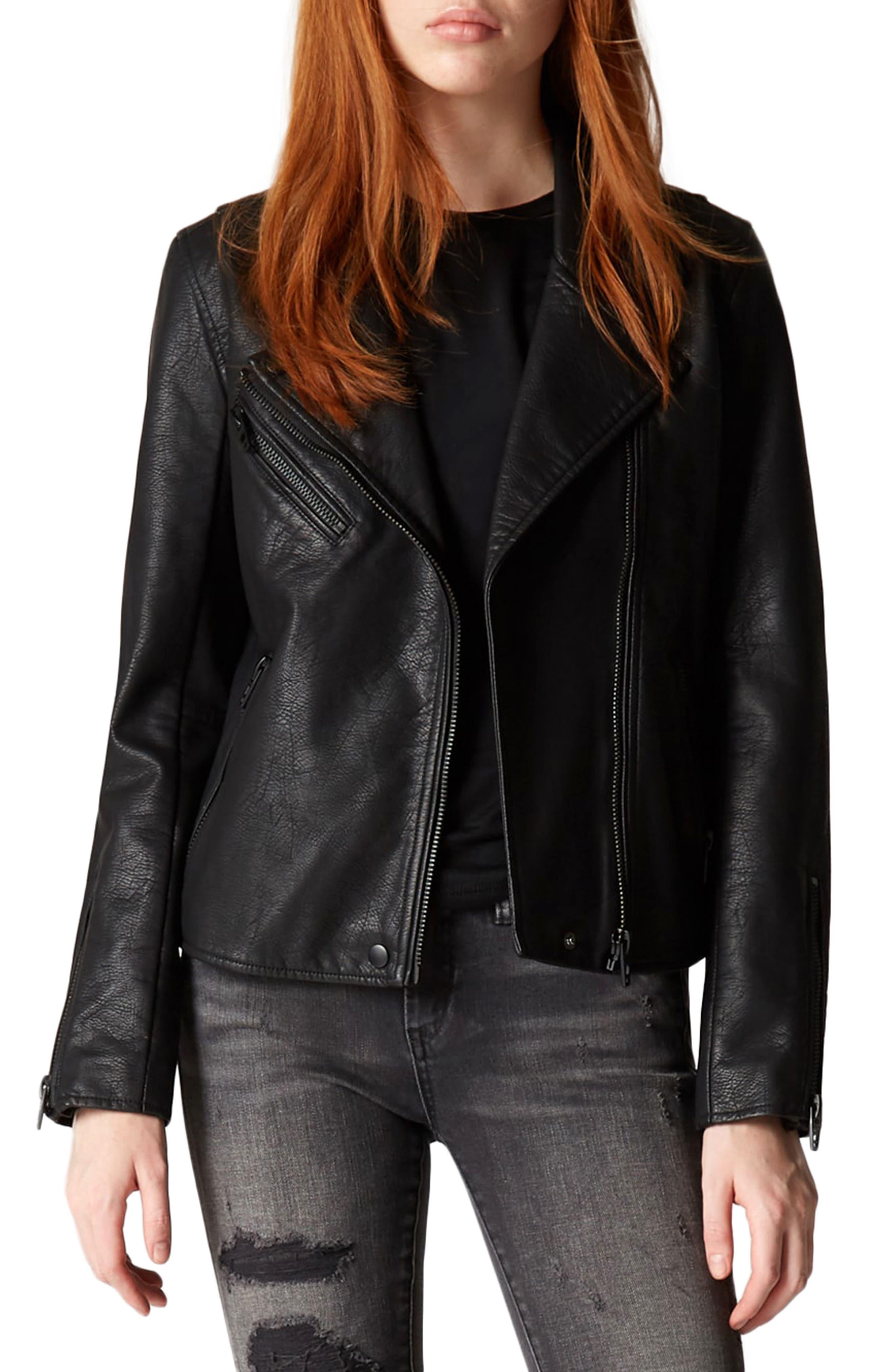 Faux Leather Moto Jacket,                             Main thumbnail 1, color,                             Onyx