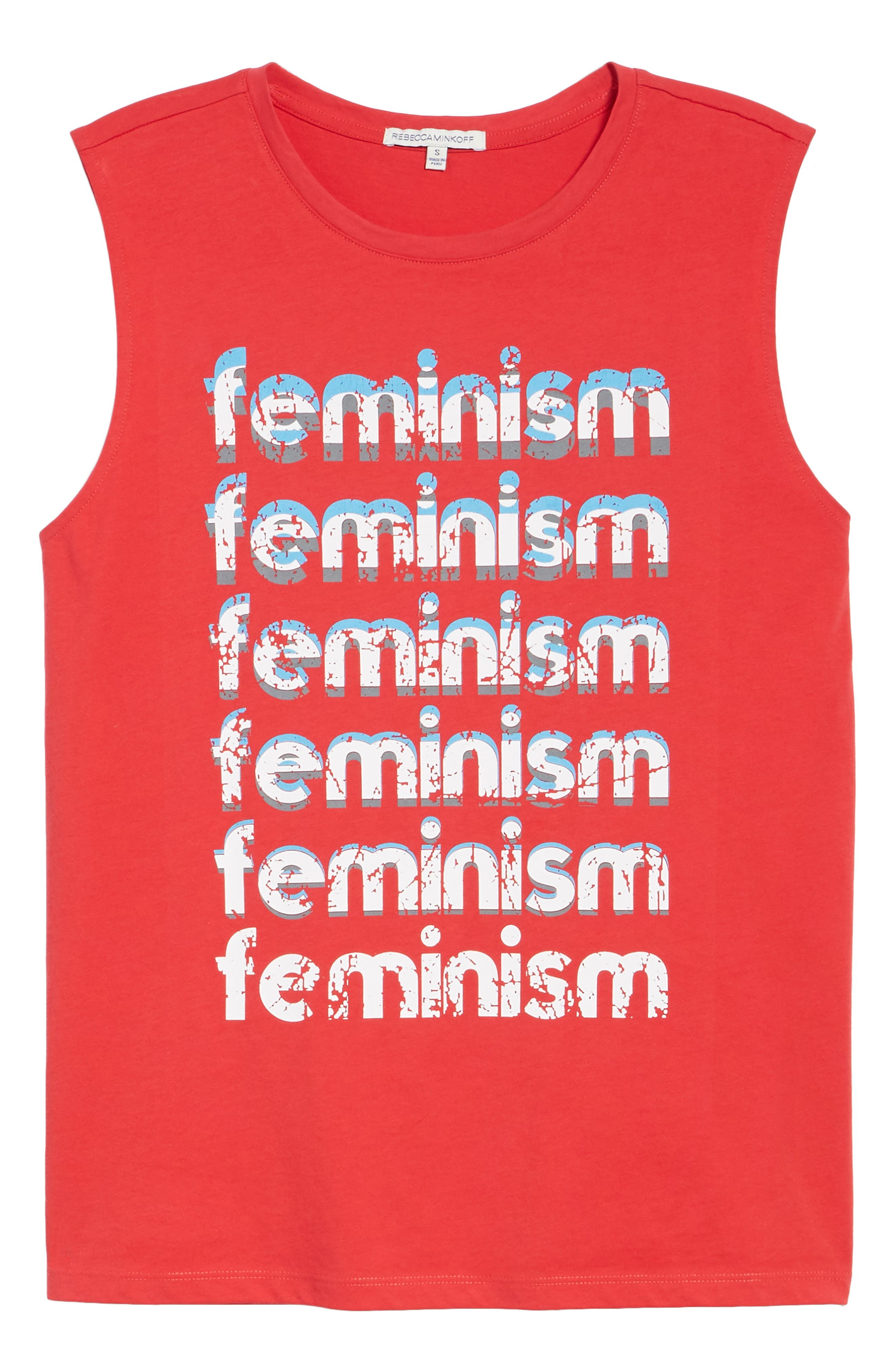 Feminism Muscle Tee,                             Alternate thumbnail 7, color,                             Bright Red/ Multi