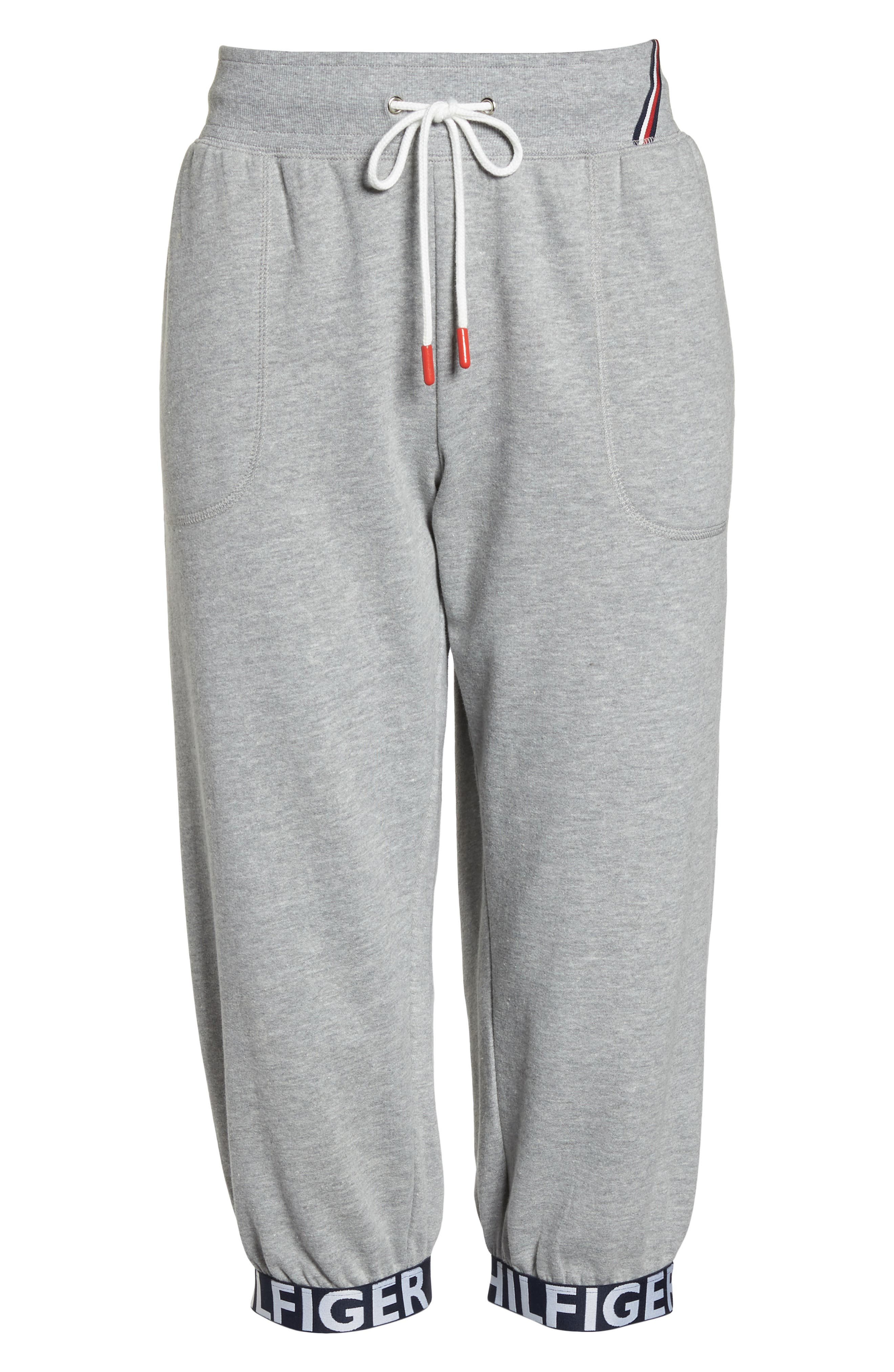 Crop Jogger Pants,                             Alternate thumbnail 4, color,                             Heather Gray
