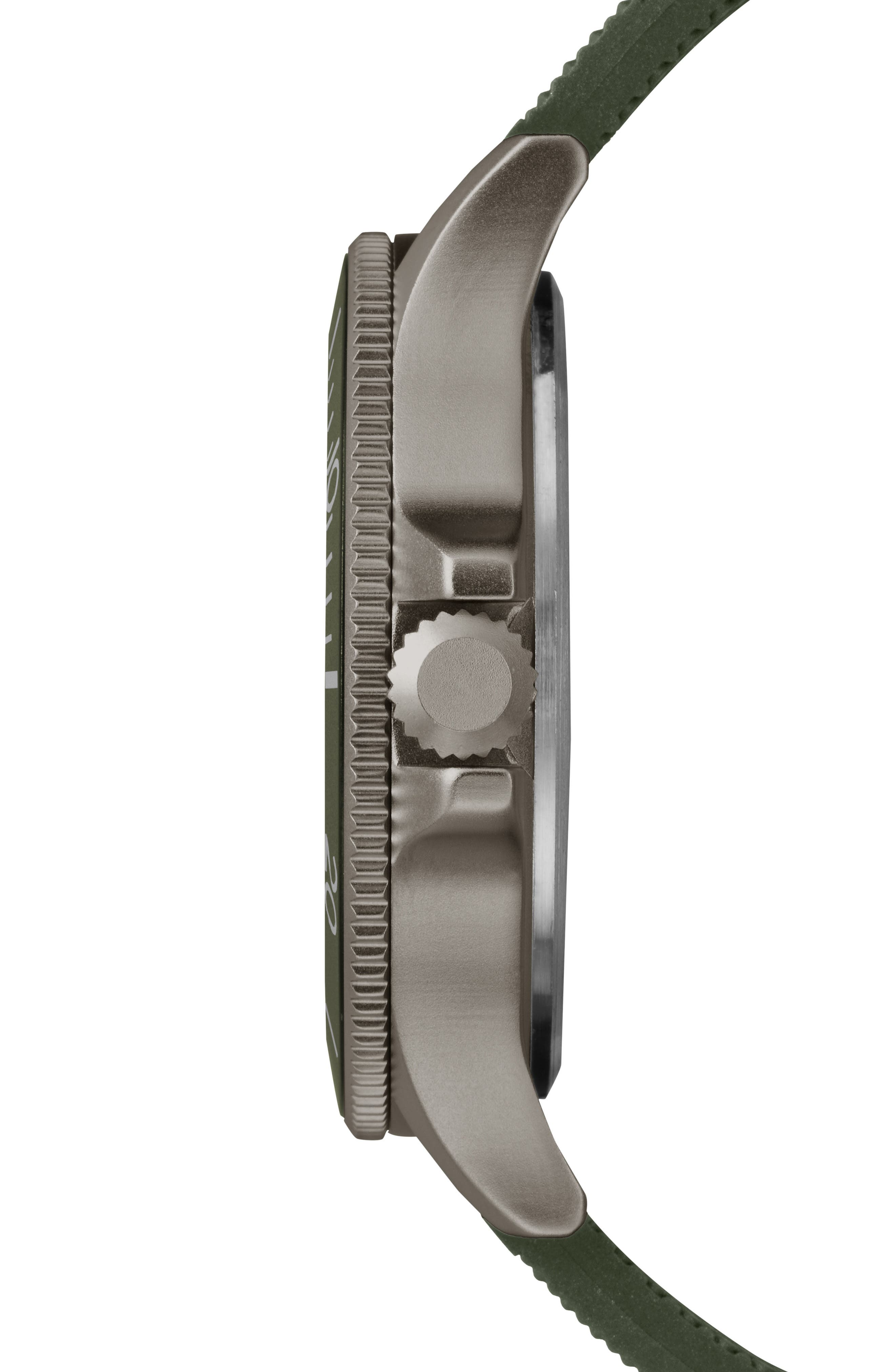Allied Silicone Strap Watch, 43mm,                             Alternate thumbnail 2, color,                             Olive/ Grey