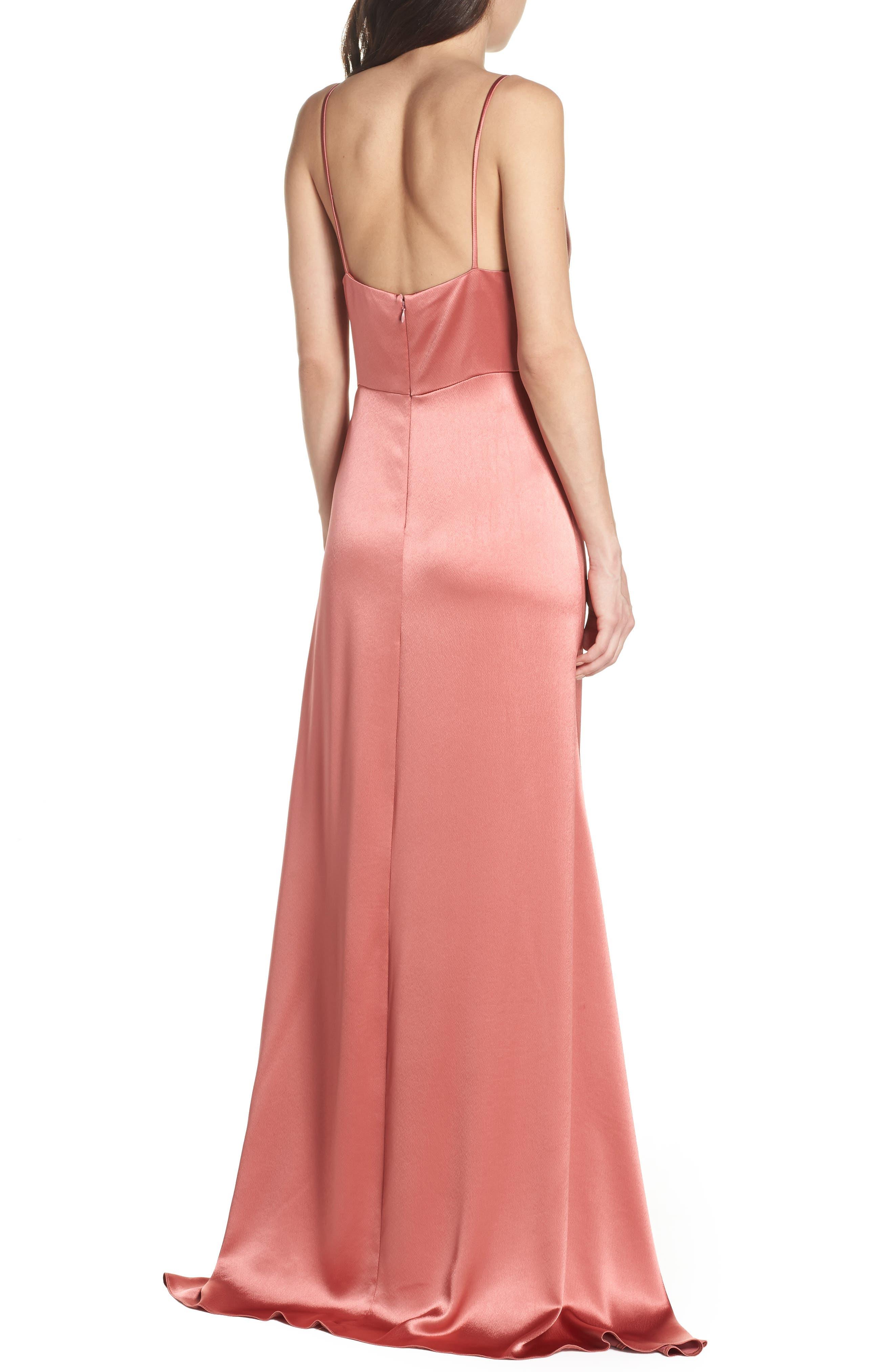 Faux Wrap Satin Gown,                             Alternate thumbnail 2, color,                             Rosewood