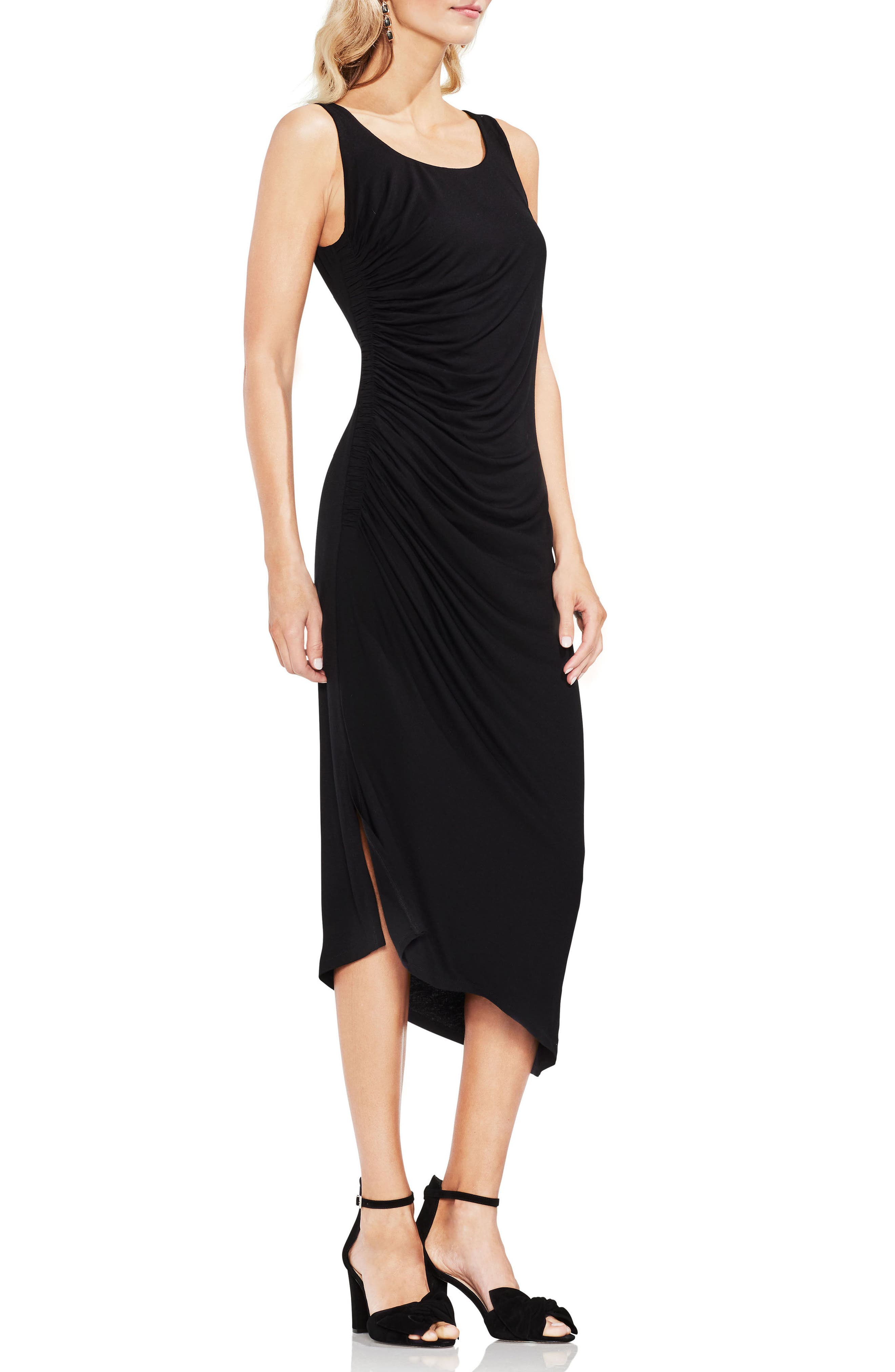 Side Ruched Asymmetrical Body-Con Dress,                         Main,                         color, Rich Black