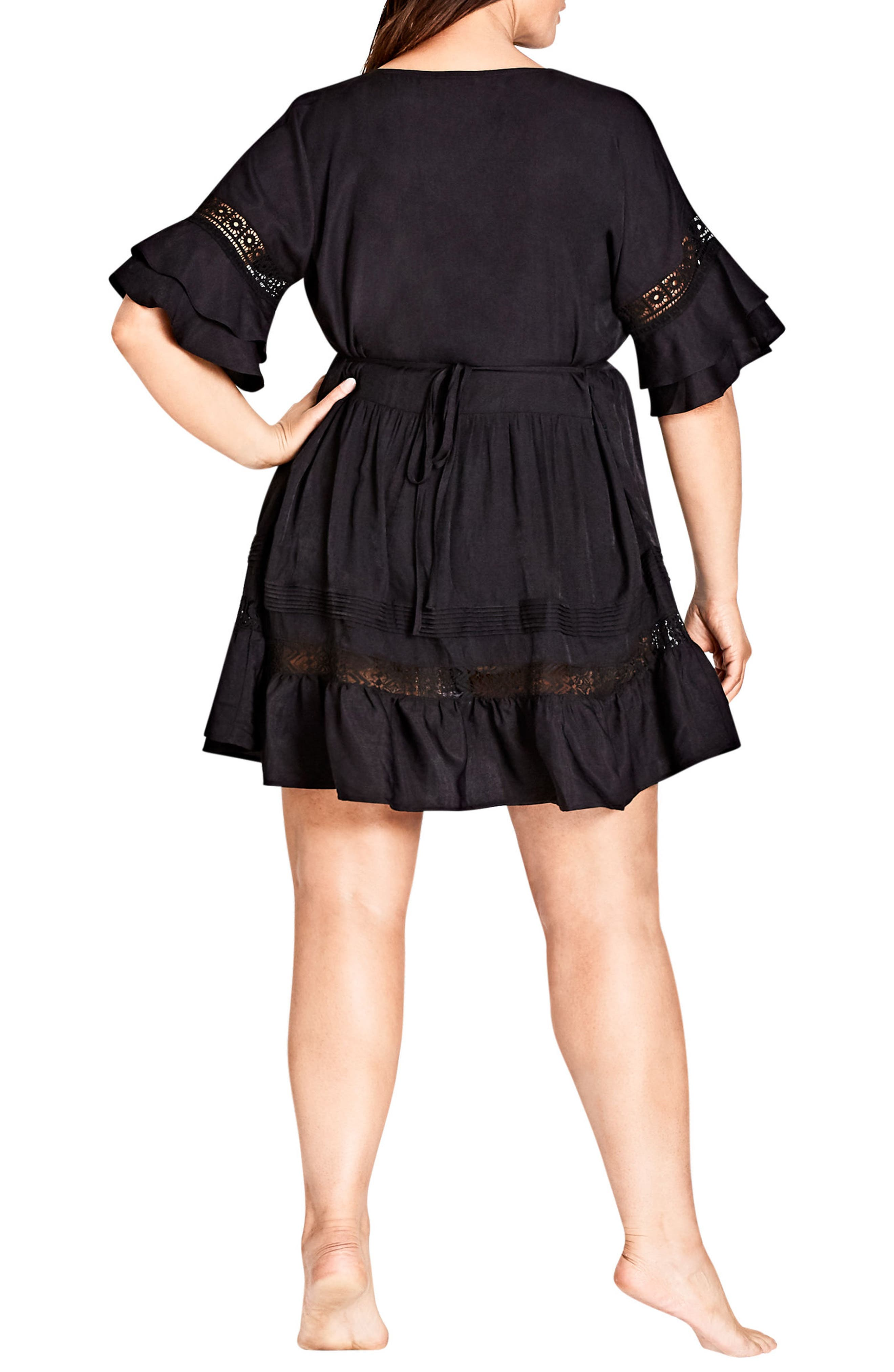 Evie Lace Trim Cover-Up Dress,                             Alternate thumbnail 2, color,                             Black